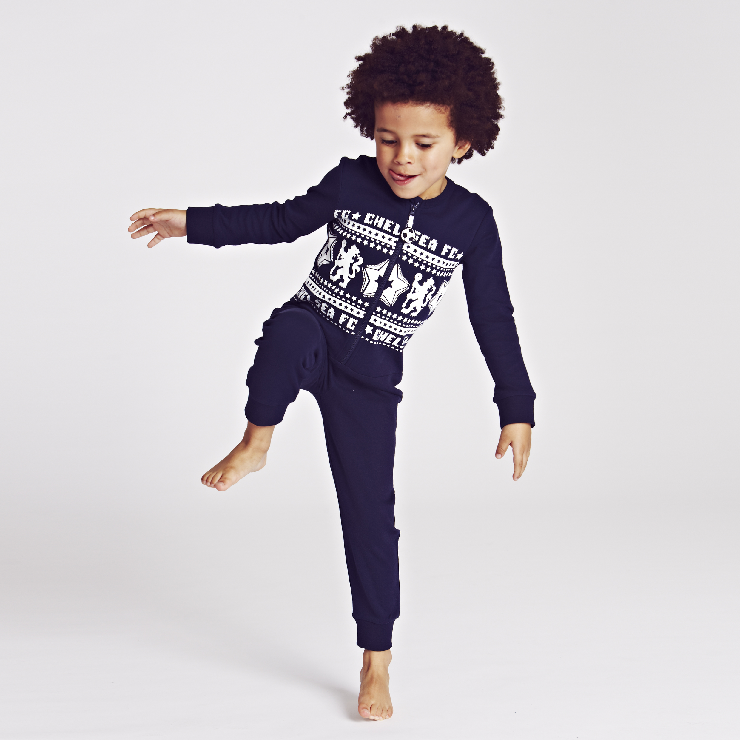 Chelsea Fairisle Lion Onesie - Boys Navy