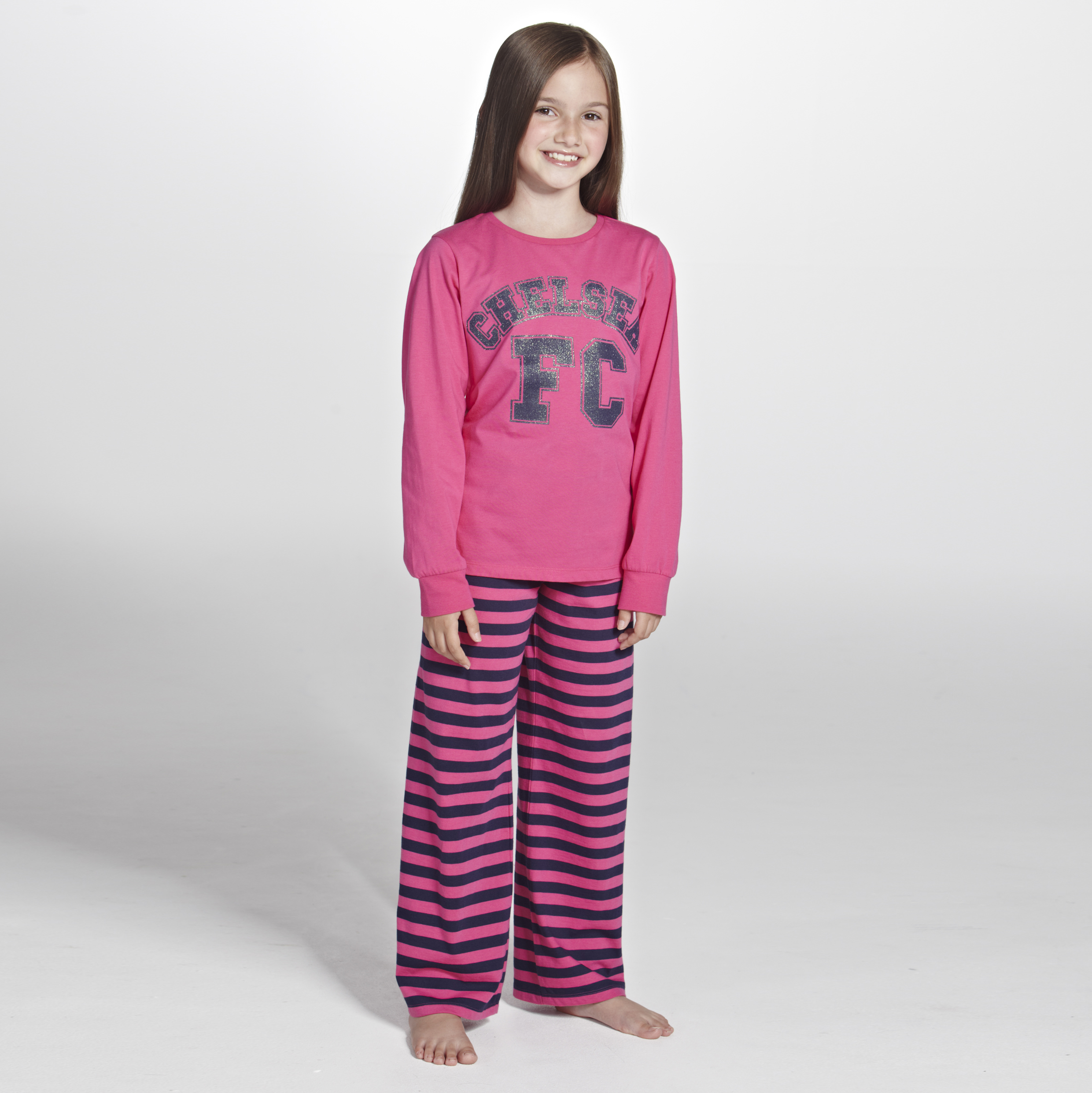 Chelsea Striped Snuggle Fit Pyjamas- Girls Pink