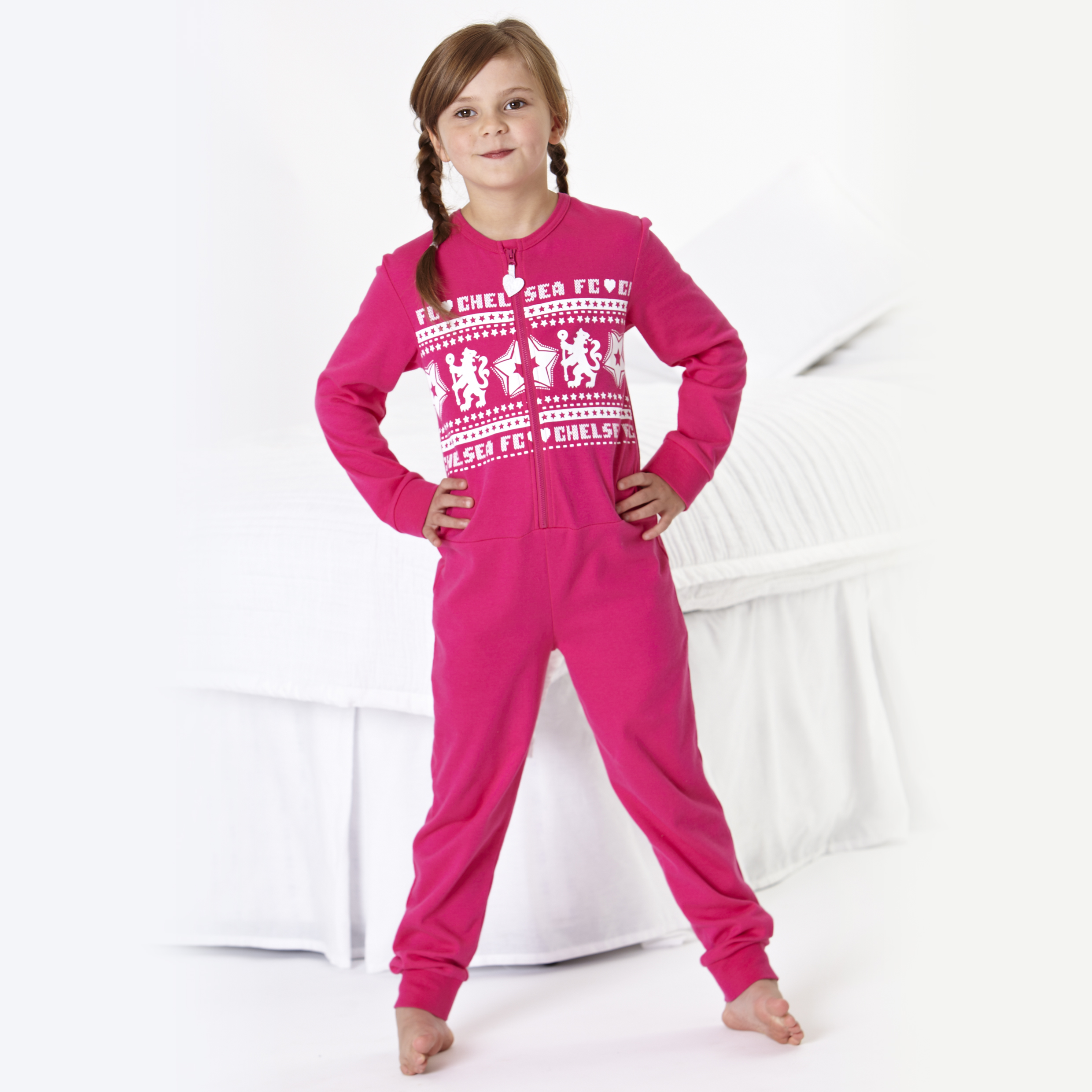 Chelsea Fairisle Lion Onesie - Girls Pink