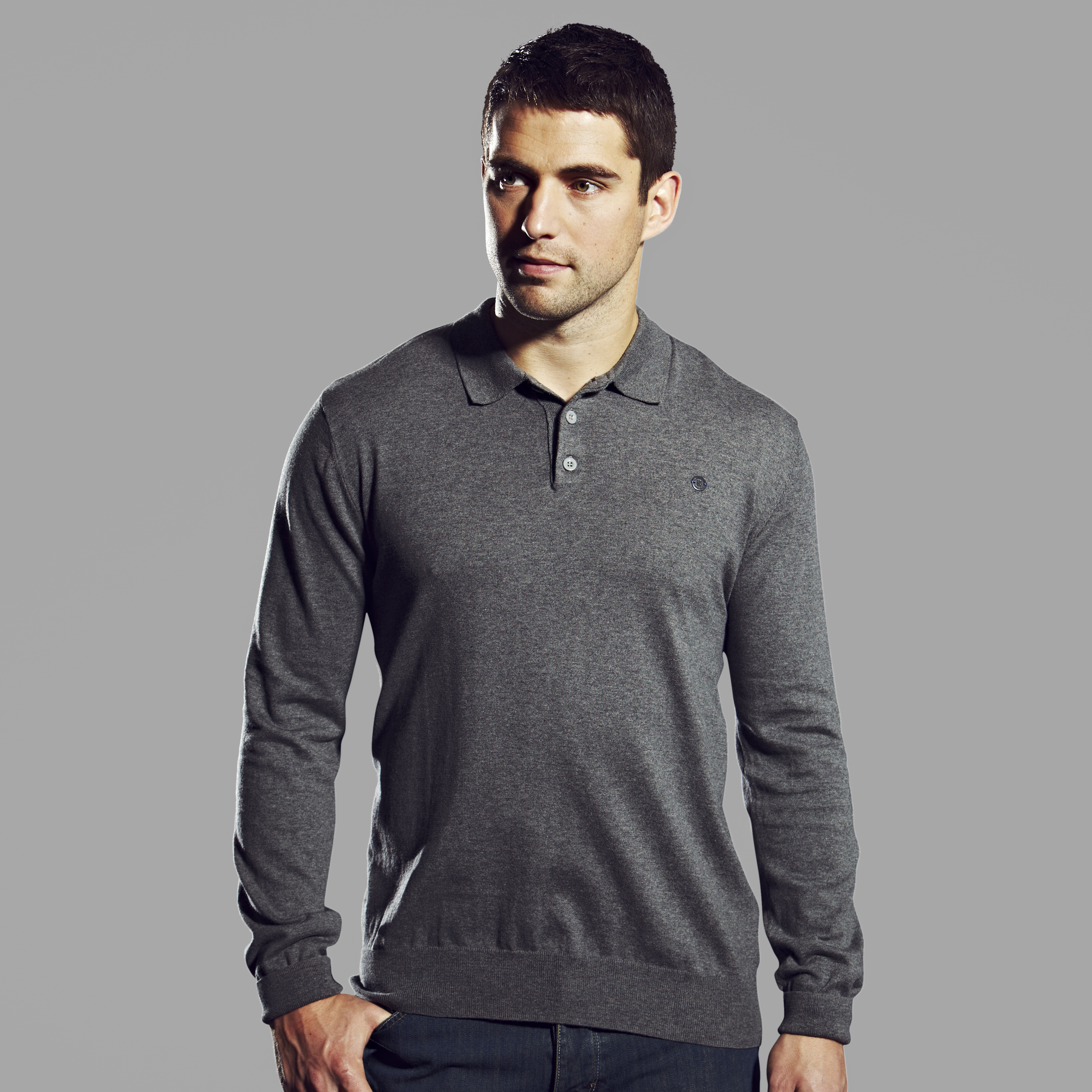 Chelsea Collection Knitted Polo - Mens Grey