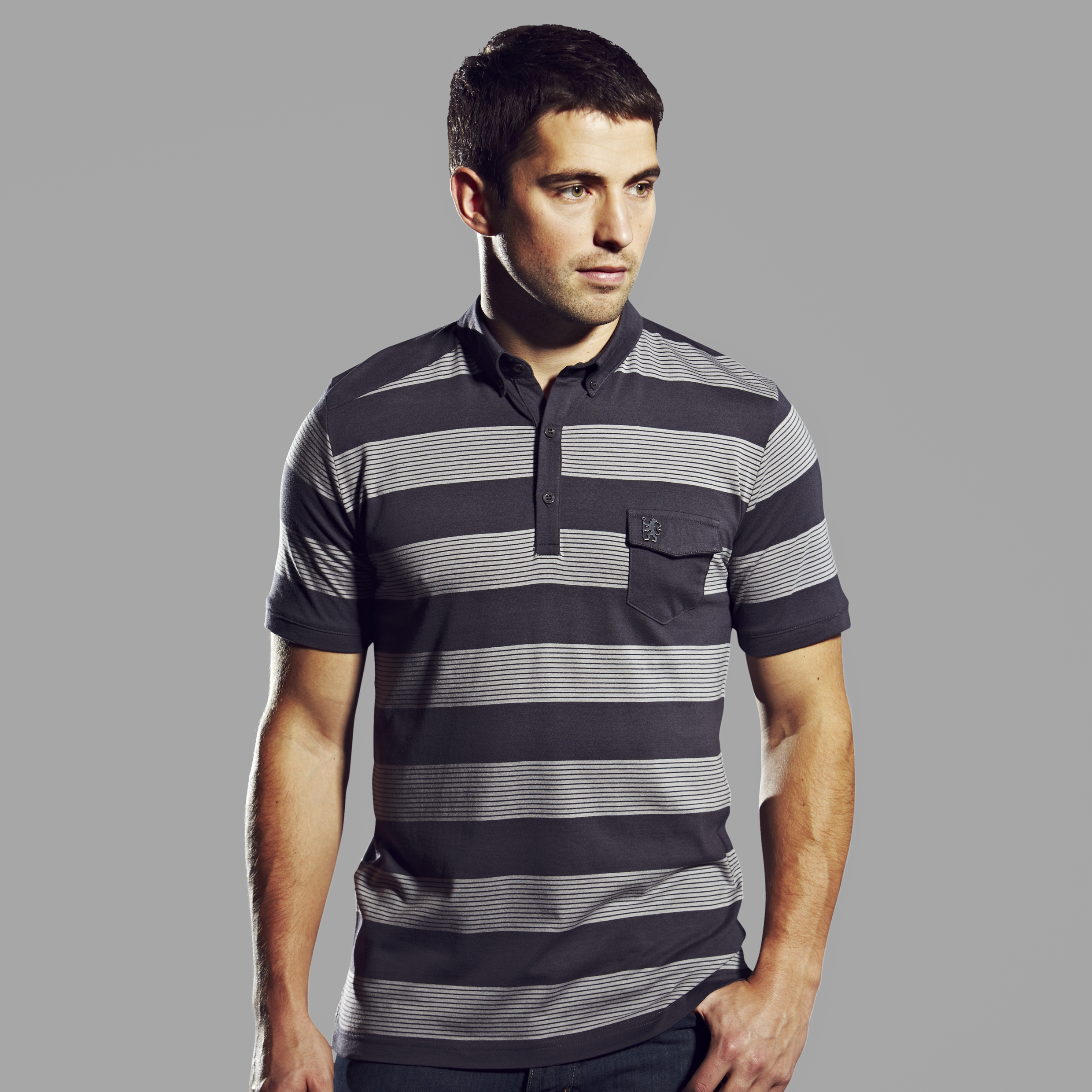 Chelsea Collection Striped Pocket Polo - Mens Grey