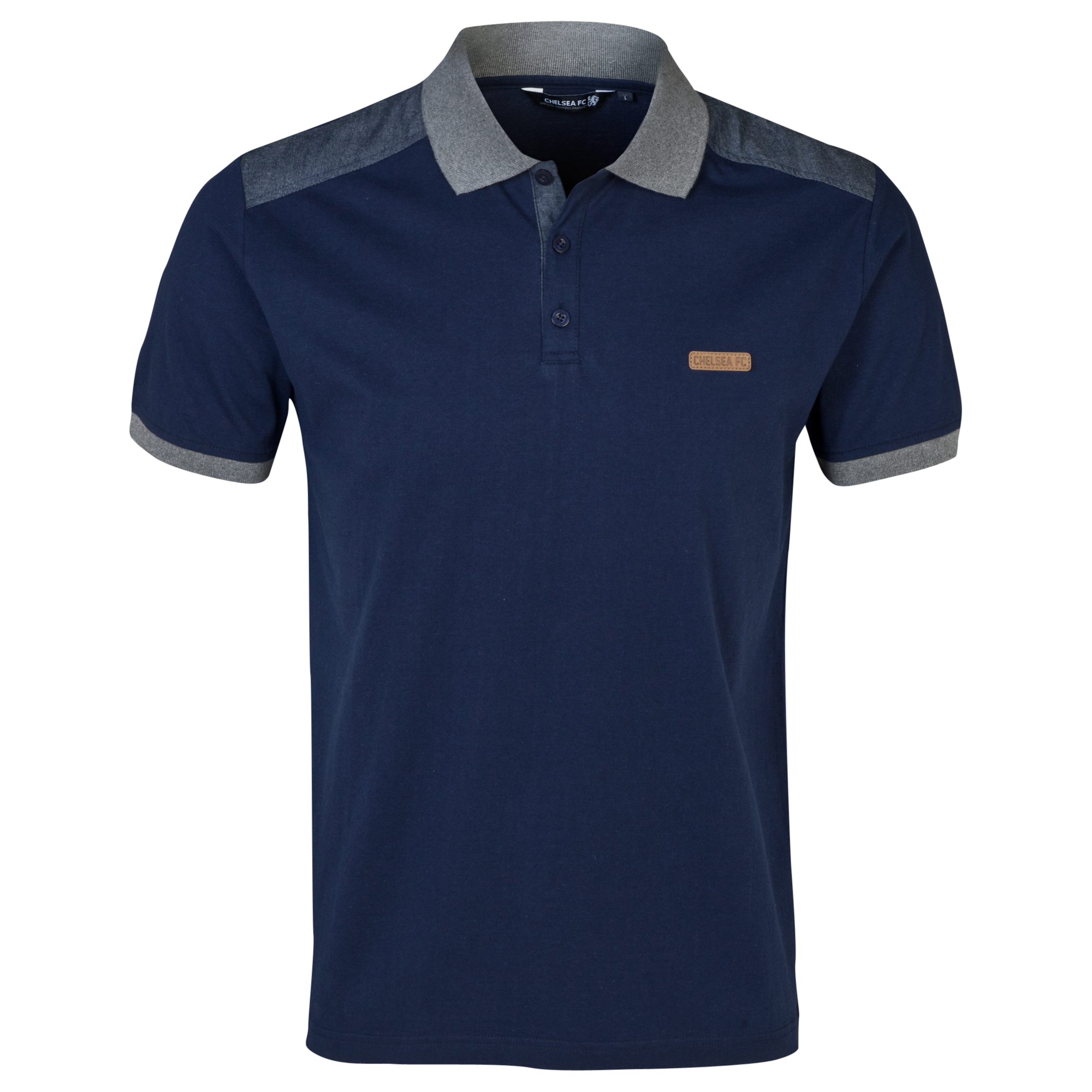 Chelsea Fashion Chambray Panelled Polo Shirt - Mens Blue