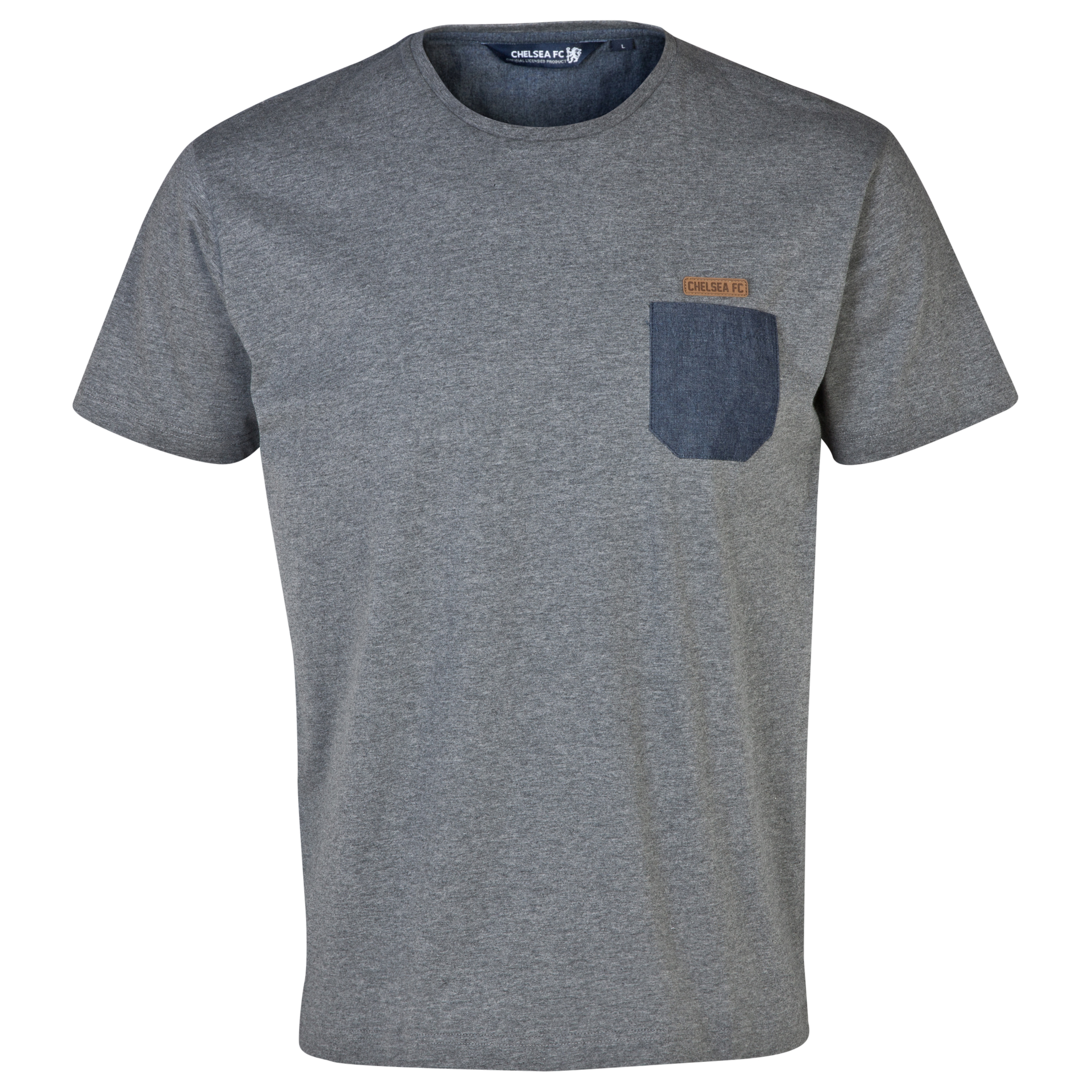 Chelsea Fashion Chambray Pocket T-Shirt - Mens Grey