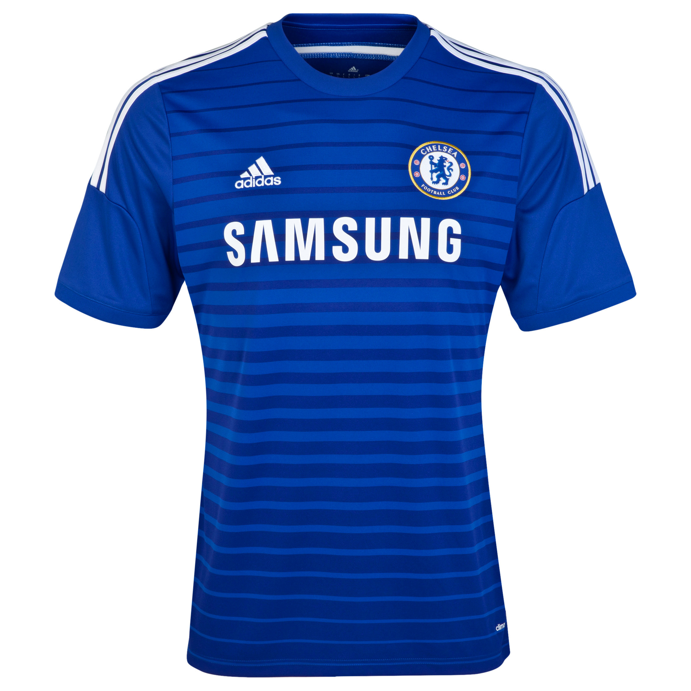 "Chelsea Home Kids Shirt 2014/15 Blue   A replica of the home team kit, this 2014/15 adidas Kid's Chelsea Home Shirt has Climacool® ventilation to help your child stay cool and dry as Chelsea lights up the pitch.   The colour design ""True Blue"" takes its inspiration from the club kits from the late 1980s and early 1990s. With an engineered fabric showing contrasting blue tones on the front panel and team crest on the left chest, young Chelsea fans can wear this home jersey with pride. Benefits of Chelsea home shirt •Ventilated Climacool® keeps you cool and dry. •Engineered fabric showing contrasting blue tones •Two toned stripe design"