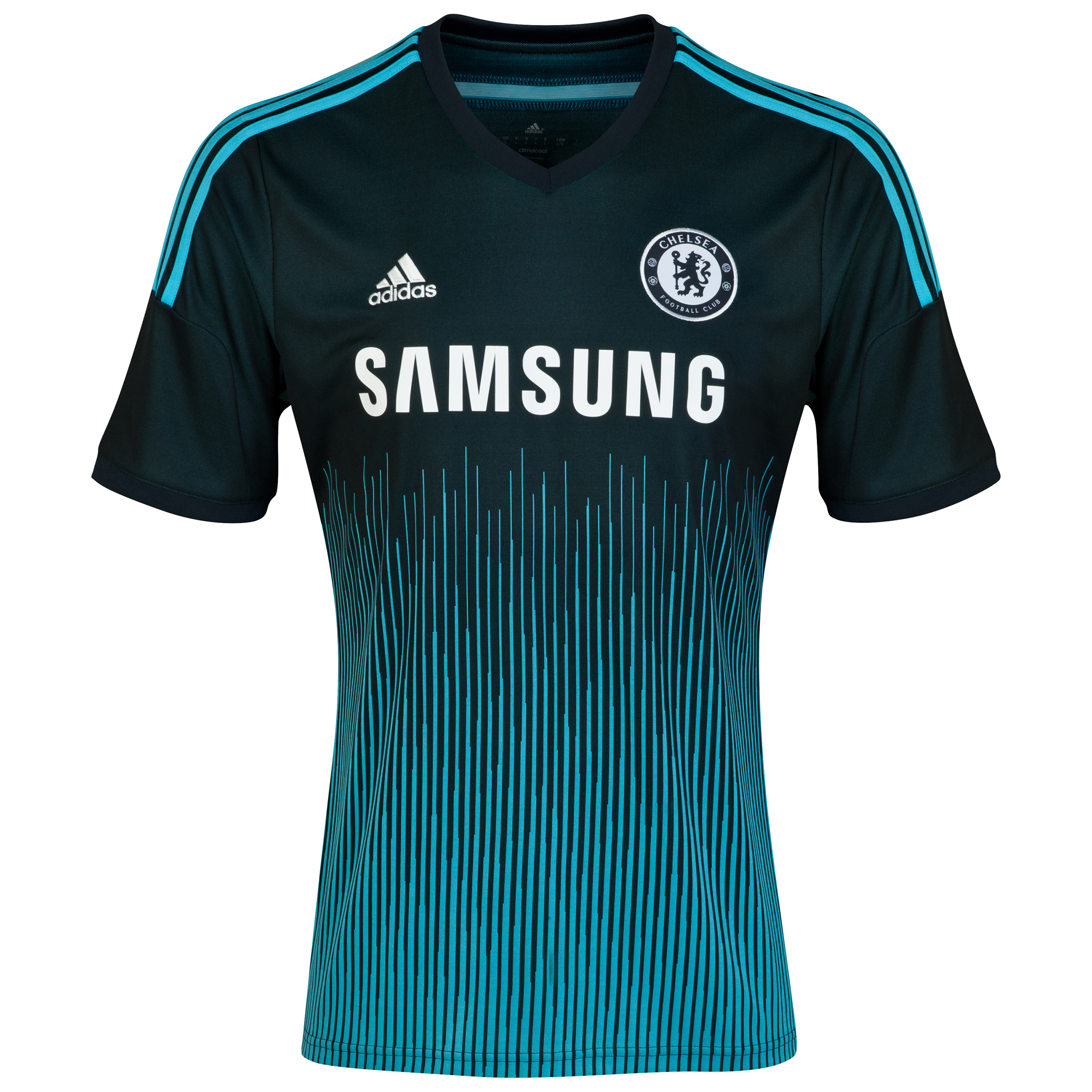 Chelsea Third Shirt 2014/15 - Kids   This dark blue 2014/15 adidas Kid's Chelsea Third Shirt has Climacool® ventilation to help your child stay cool and dry as Chelsea lights up the pitch.   With an engineered fabric showing the team crest on the left of the chest and adidas three stripe logo on the right, young Chelsea fans can wear this Third jersey with pride.   Benefits of this Chelsea third shirt •Ventilated Climacool® keeps you cool and dry •Engineered fabric