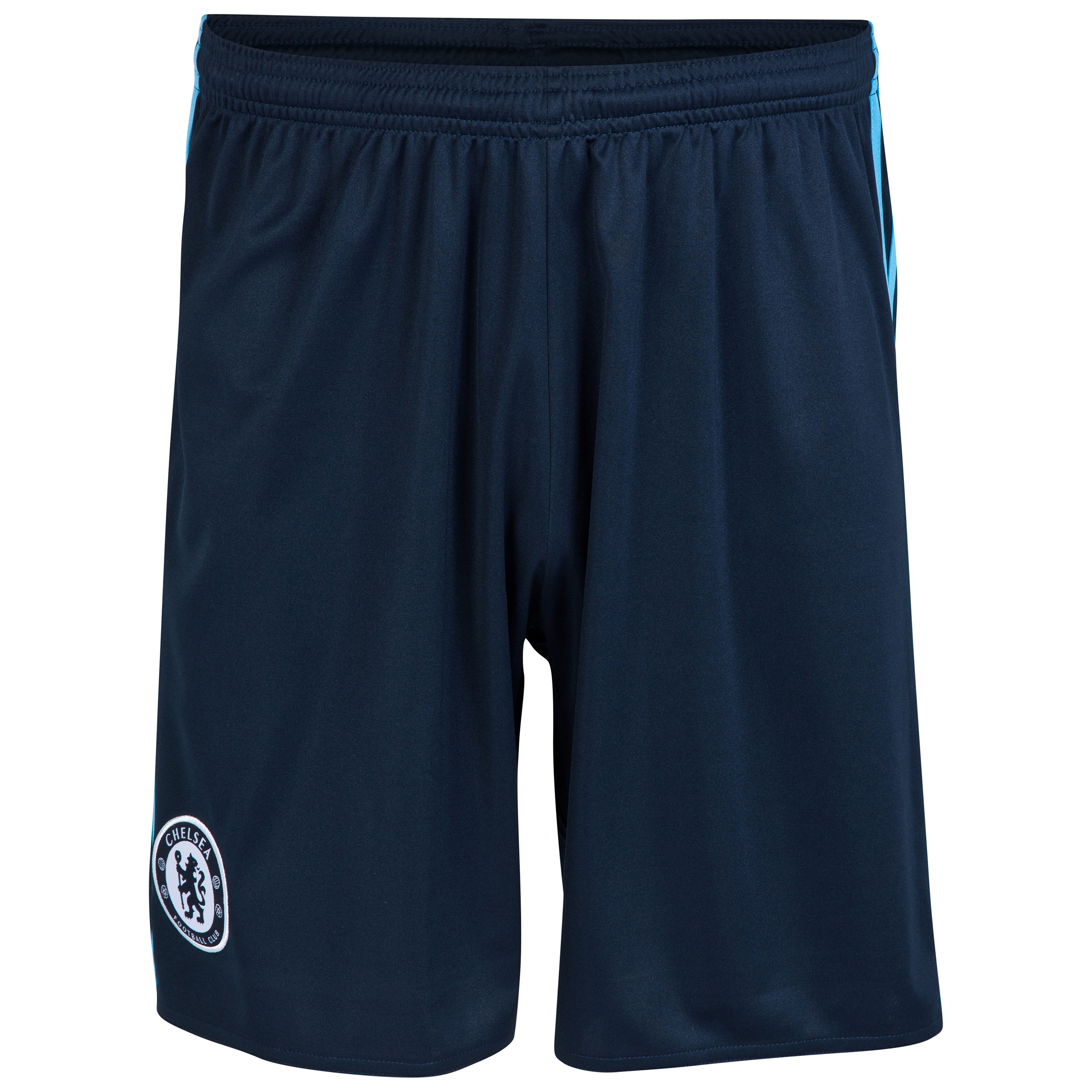 Chelsea Third Shorts 2014/15 - Kids  Young Chelsea fans can support their favourite team with pride and style in these dark blue2014/15 Chelsea Third shorts.  Built with the team crest onone leg andcontrast three stripesdown the sides, your childcan display team pride and athleticstyle whenthey wear these Chelsea Kids Third Shorts.  Benefits of these ChelseaThird Shorts •adiZero lightweight technology which promises lightweight comfort •Team crest on the leg for team pride and style •Contrast stripes for an athletic look