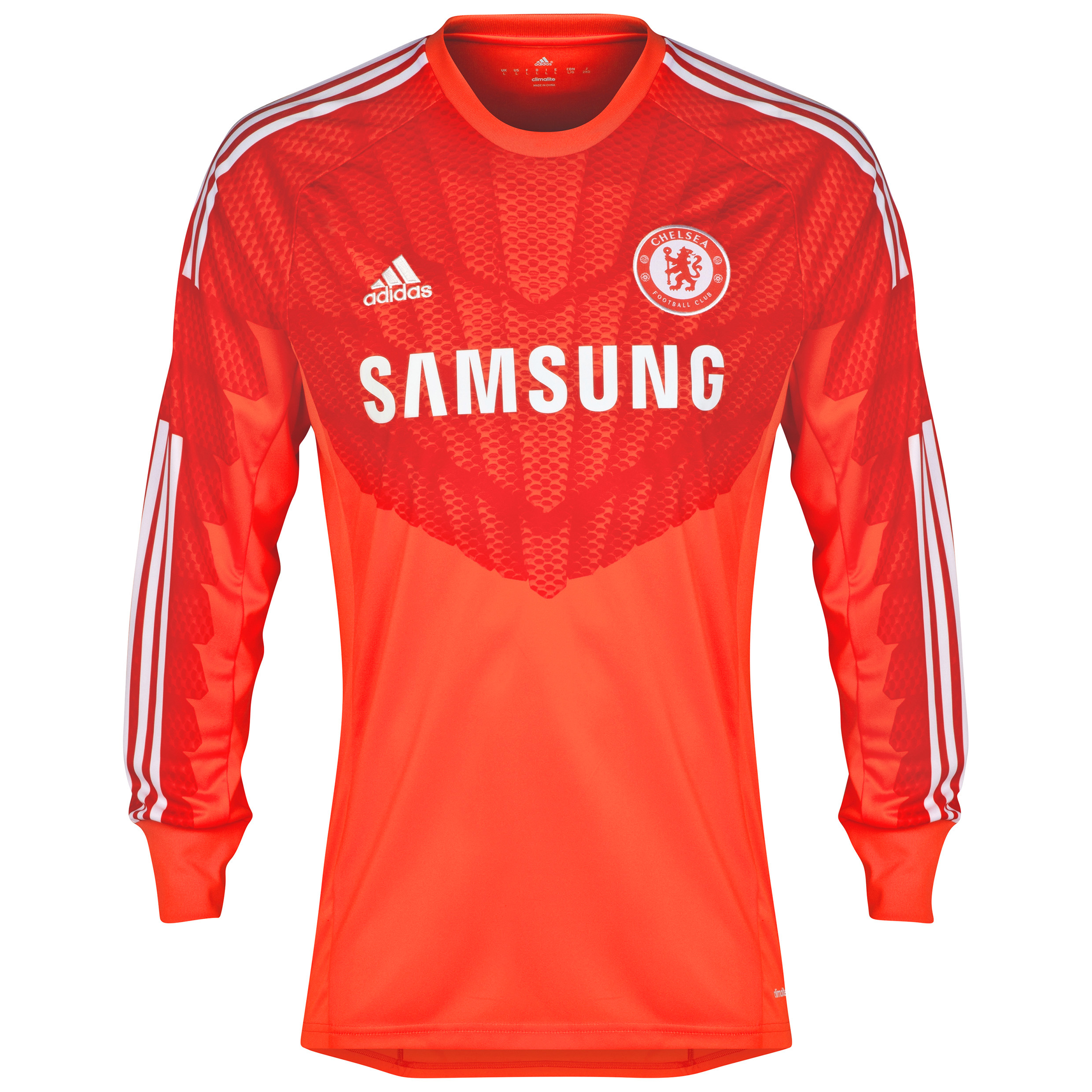 Chelsea Kid's Goalkeeper Shirt 2014/15 Red   A replica of the home team kit, this red 2014/15 Adidas Kid's Long Sleeved Goalkeeper Shirt has Climacool® ventilation to help your