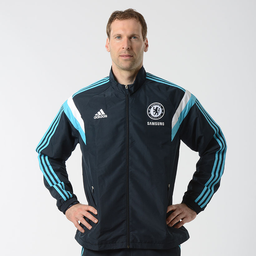 Chelsea Training Presentation Jacket - Dark Blue   Enjoy a great performance every time you play in this Chelsea Presentation Jacket. Styled with a woven Chelsea club crest and adidas three stripe logo, this blue presentation jacket was designed with style in mind.   Featur
