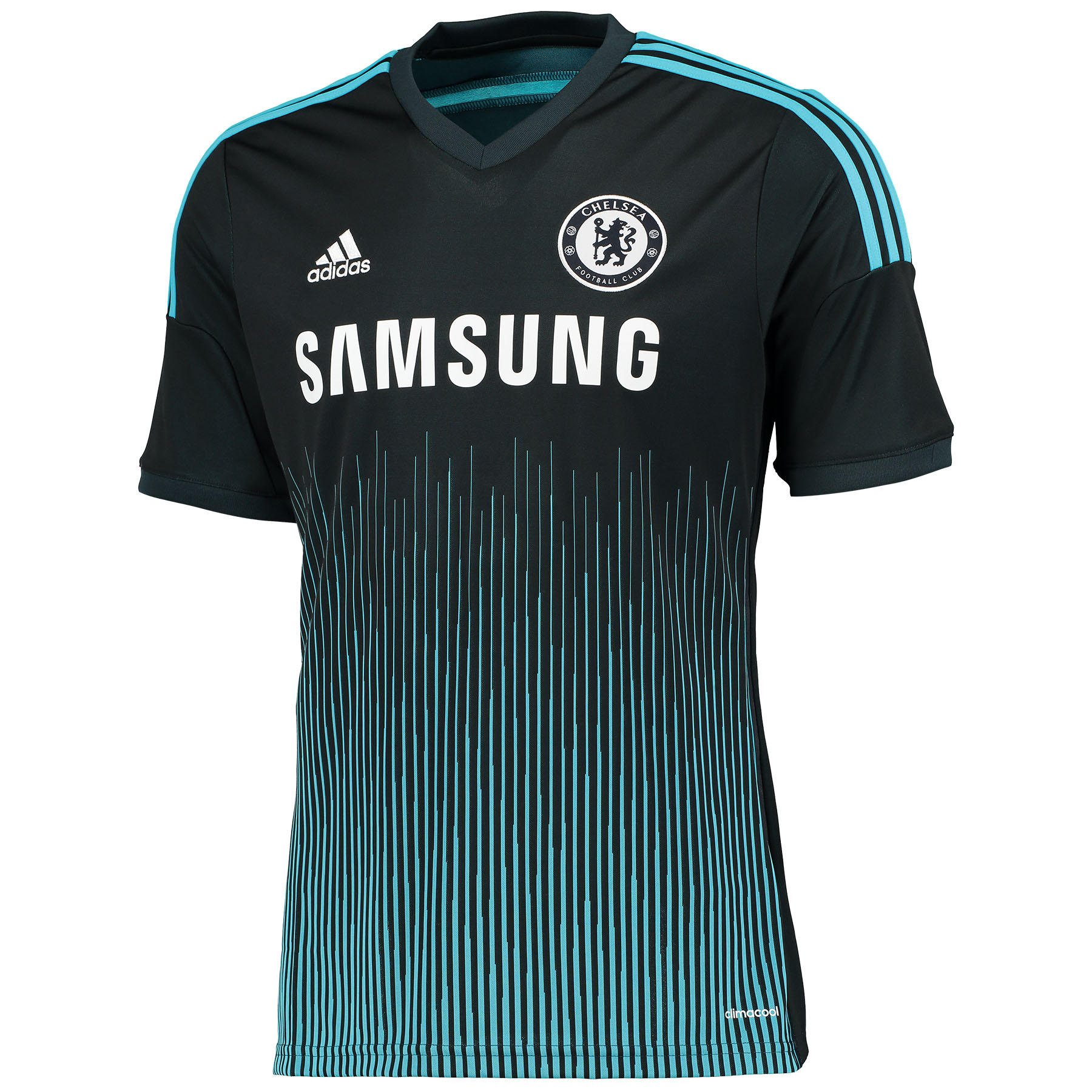 Chelsea Third Shirt 2014/15 Train at your best in this dark blue 2014/15 adidas men's Chelsea Third Shirt which includes the latest adidas technologies such as the moisture-wicking climacool® material to keep you cool and dry as Chelsea lights up the pitch.   Styled with an engineered fabric, adidas stripes on the sleeves and team crest on the left of the chest, Chelsea fans can wear this Third Shirt with pride.   Benefits of this Chelsea Third Shirt: •Ventilated Climacool® keeps you cool and dry as the match heats up •Engineered fabric •adidas three stripe logo