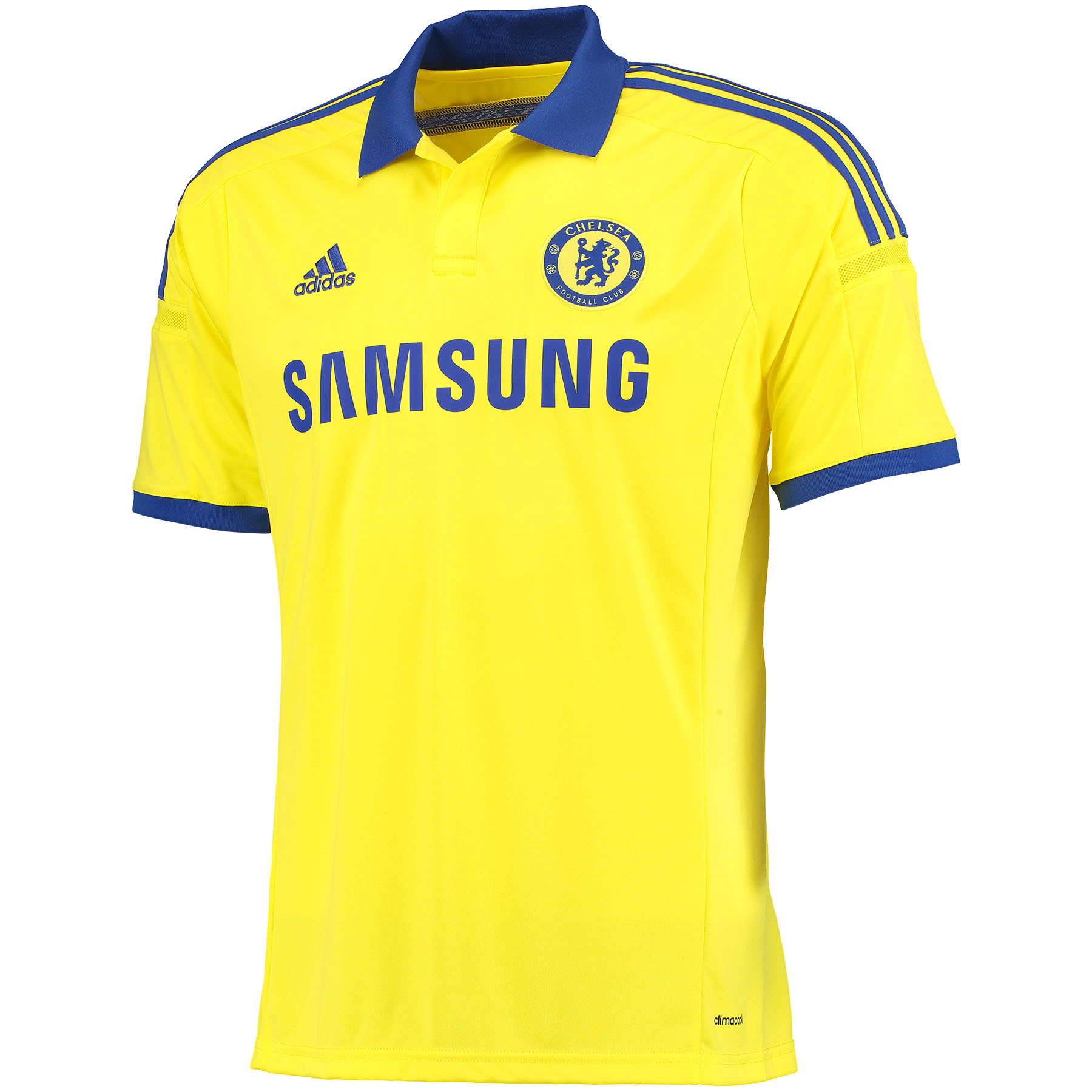 Chelsea Away Shirt 2014/15 Yellow   Support your favourite team with pride and style with this yellow 2014/15 Chelsea away shirt which is inspired by the iconic yellow away kits from the club's past.   This brand new Chelsea Away Shirt will be the lightest Chelsea jersey ever produced, featuring the latest in adiZero lightweight technology so nothing will be weighing you down as you practise your skills. Styled with a polo collar and an iconic contrast blue stripe across the back, this stylish shirt looks as good as it feels.   Benefits of this Chelsea Away Shirt •adiZero lightweight technology which promises lightweight comfort •Polo collar to pay tribute to retro designs •Iconic blue stripe on the back which contrasts the two Chelsea colours   Fans of all ages will have great memories of Chelsea in a yellow away strip, from its first outings with the likes of Peter Osgood in the 1960s and 1970s, through to Frank Lampard's fantastic performance in the FA Cup 2009 final.