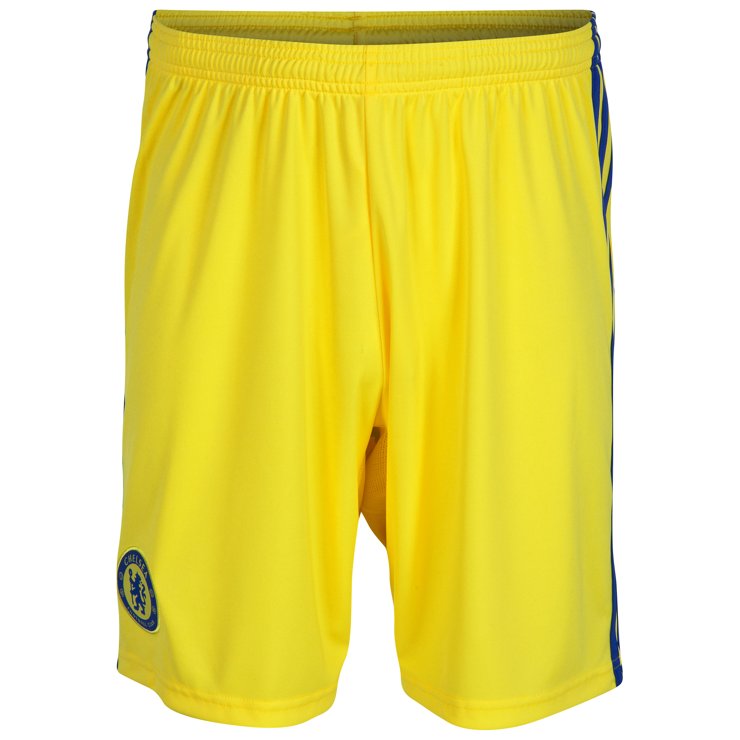 Chelsea Away Shorts 2014/15 - Kids Yellow   Let your child support their favourite team with pride and style with these yellow 2014/15 Chelsea away shorts which are inspired by the iconic yellow away kits from the club's past. With the team crest on the leg and blue stripes for an athletic style, these adidas shorts will look great on the pitch.   Fans of all ages will have great memories of Chelsea in a yellow away strip, from its first outings with the likes of Peter Osgood in the 1960s and 1970s, through to Frank Lampard's fantastic performance in the FA Cup 2009 final. If your child wants some stylish and comfortable shorts they can wear to show pride for The Blues, these Chelsea away shorts are the ideal choice.   Benefits of these Chelsea Away Shorts •adiZero lightweight technology which promises lightweight comfort •Iconic yellow colour •Club badge on the leg for team pride and style •Contrast blue stripes for an athletic style