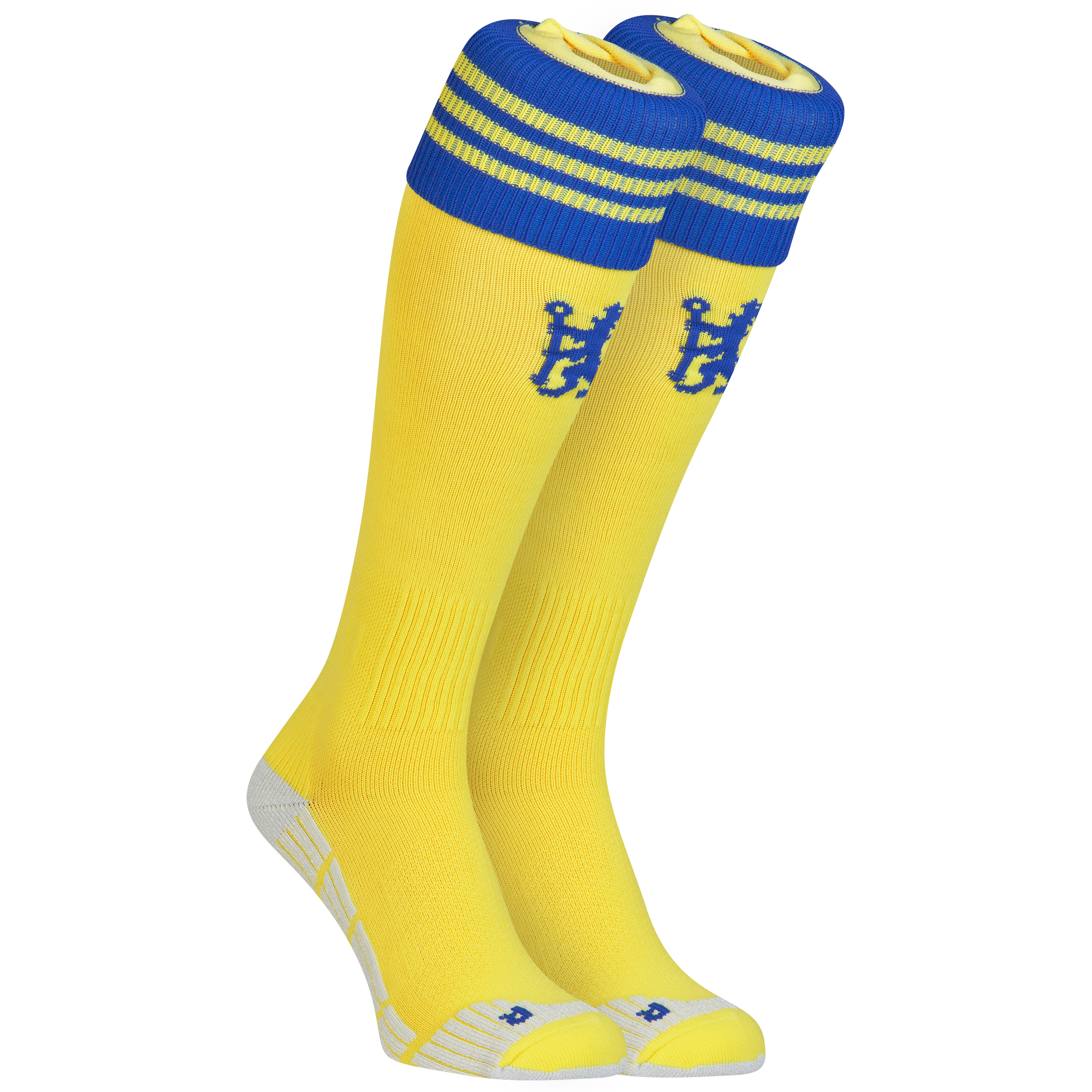 Chelsea Away Socks 2014/15 Yellow   Wear your team pride with every step with these yellow 2014/15 Chelsea away socks which are inspired by the iconic yellow away kits from the club's past. Styled in yellow with contrast blue details including a club crest and the adidas three stripe logo, you can wear these socks for team pride and style.   Fans of all ages will have great memories of Chelsea in a yellow away strip, from its first outings with the likes of Peter Osgood in the 1960s and 1970s, through to Frank Lampard's fantastic performance in the FA Cup 2009 final.   Benefits of these Chelsea Away Socks •Iconic yellow colour •Club branding •Team crest and adidas logo for pride and an athletic style