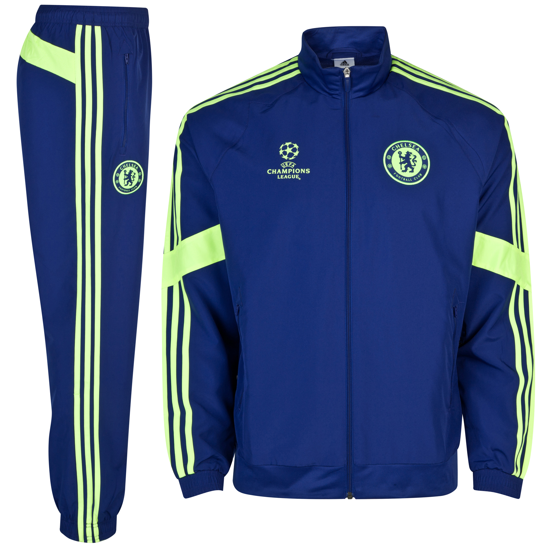 Chelsea UCL Training Presentation Suit The Chelsea UCL Training Presentation Suit is the perfect choice for training and leisure activities. With a woven team crest, you can wear this suit with team pride. The elasticated cuffs and ankles provide a perfect fit whilst the embroidered adidas logo and adidas stripes complete the sporty look. Buy this Chelsea presentation suit for a great game every time.   Benefits of this Chelsea UCL presentation suit •Woven team crest •Embroidered adidas logo