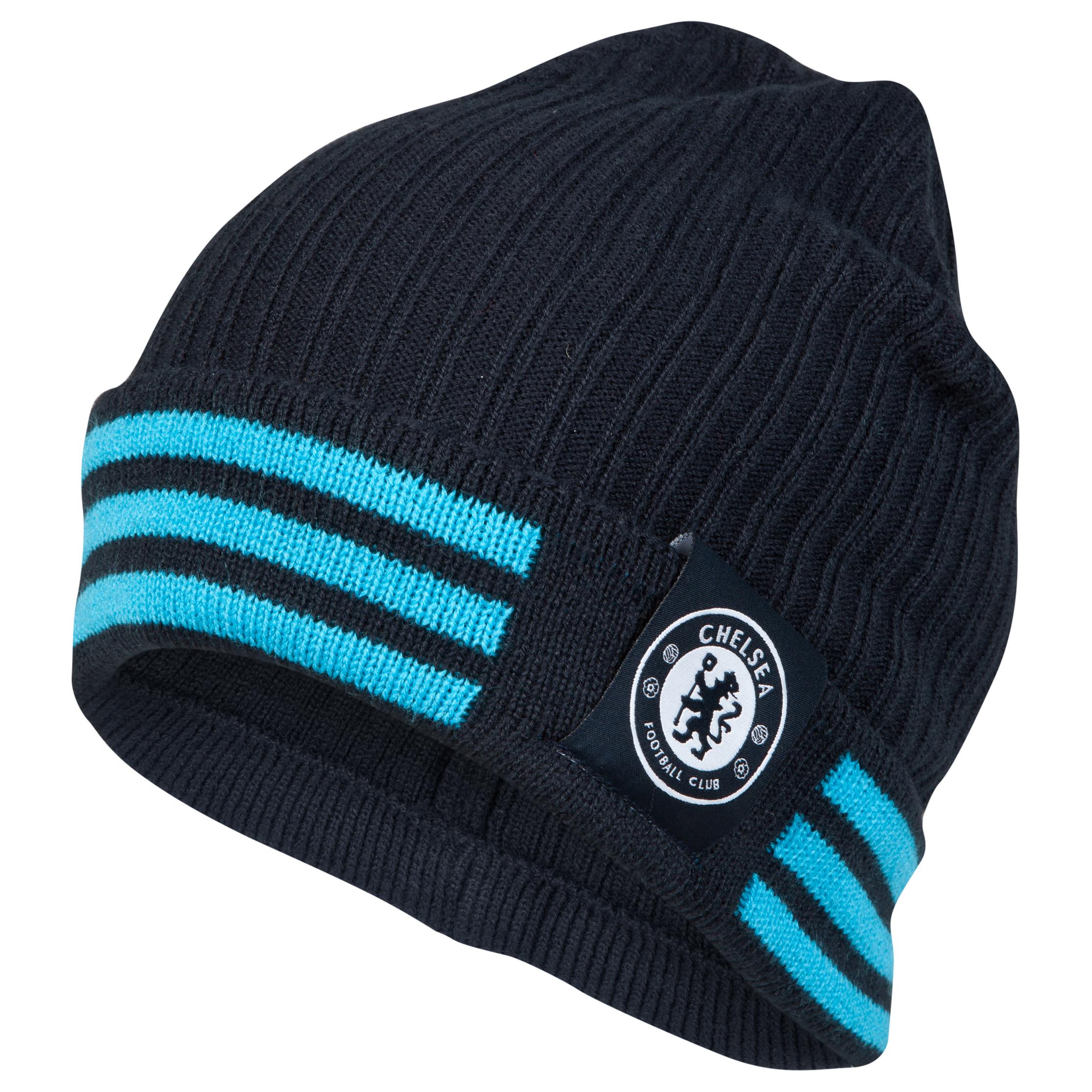 Chelsea 3 Stripe Woolie Hat Navy