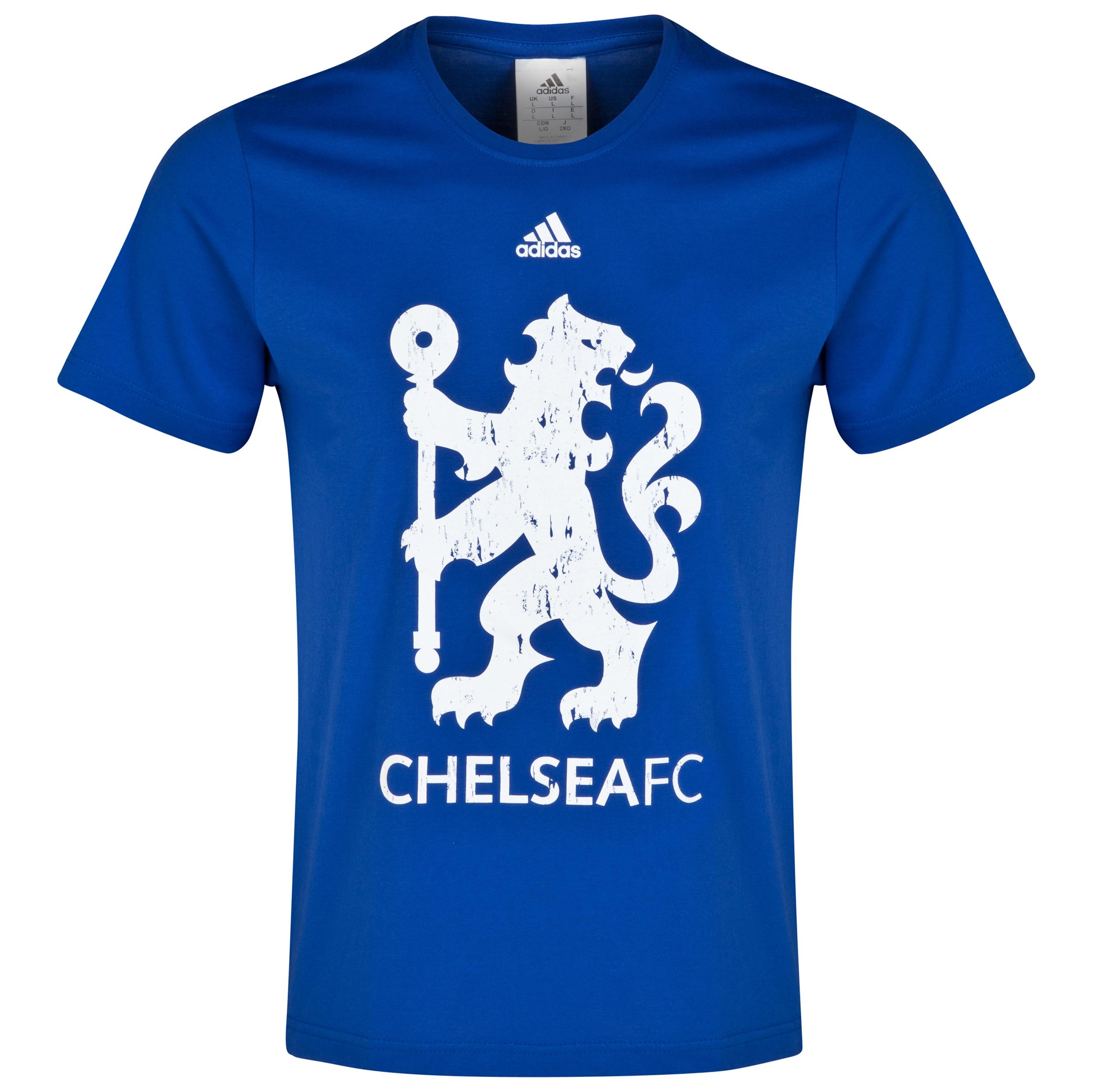 Chelsea Adidas Distressed Lion T-Shirt Blue
