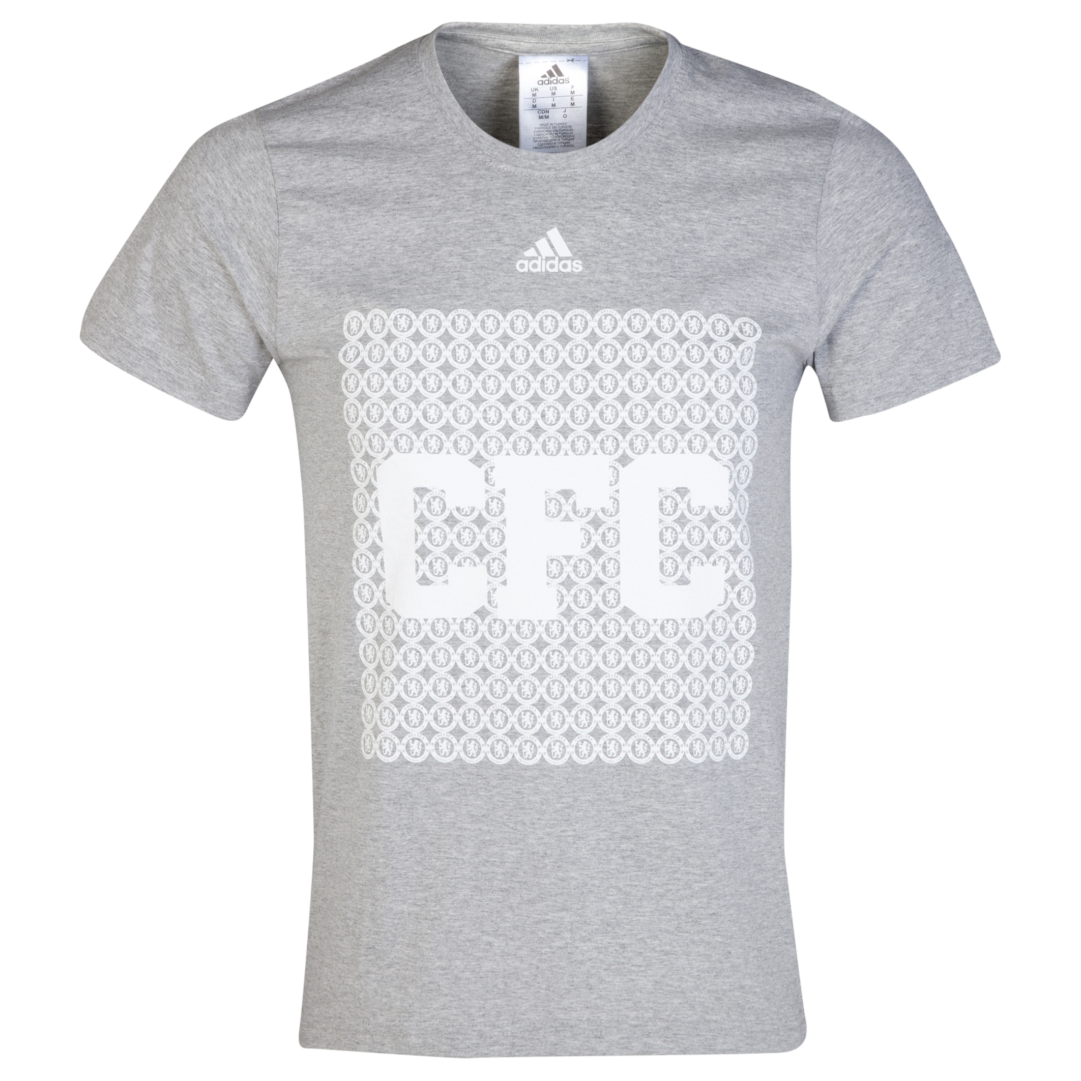 Chelsea Adidas CFC Text T-Shirt Grey