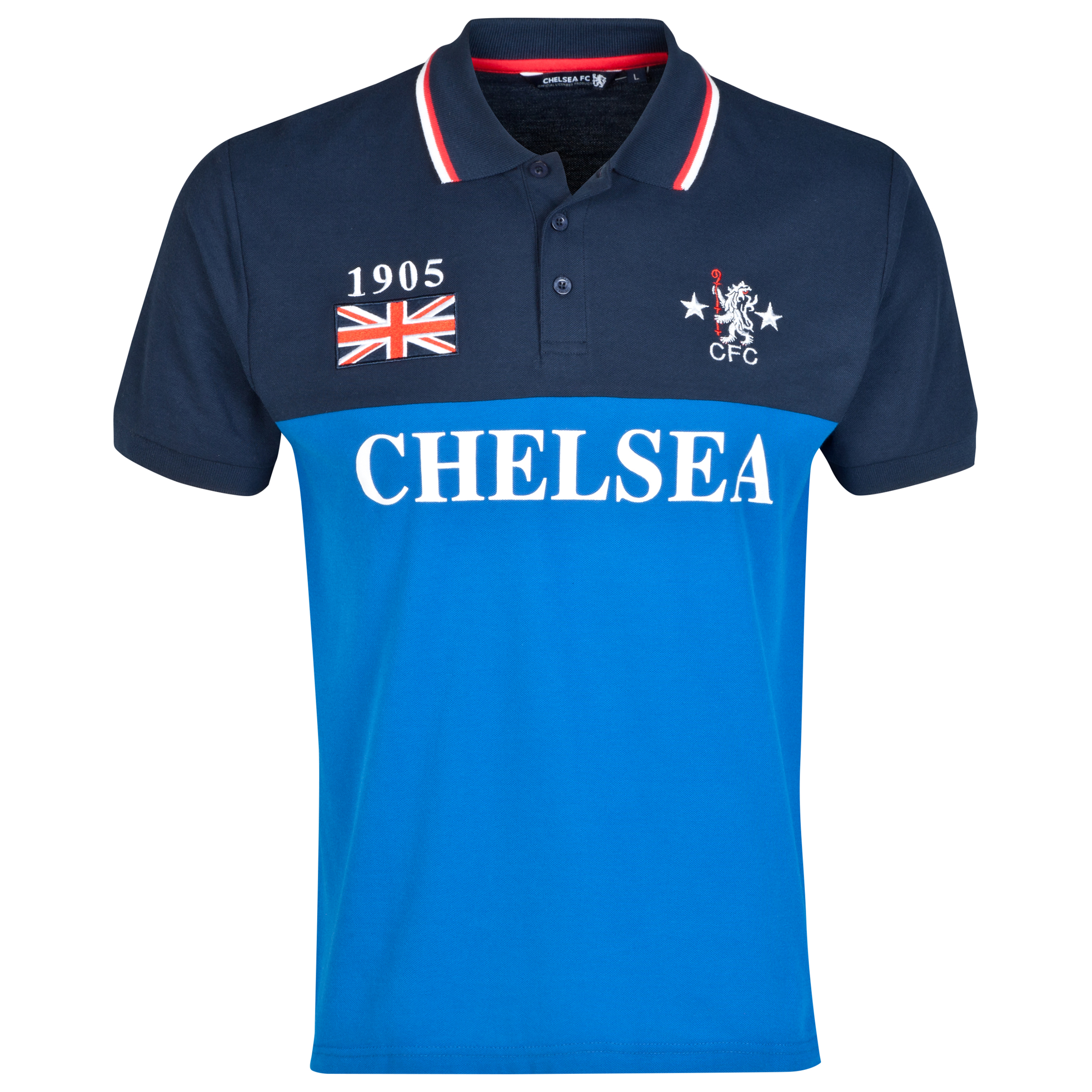 Chelsea Retro Panelled Polo Shirt - Navy - Mens