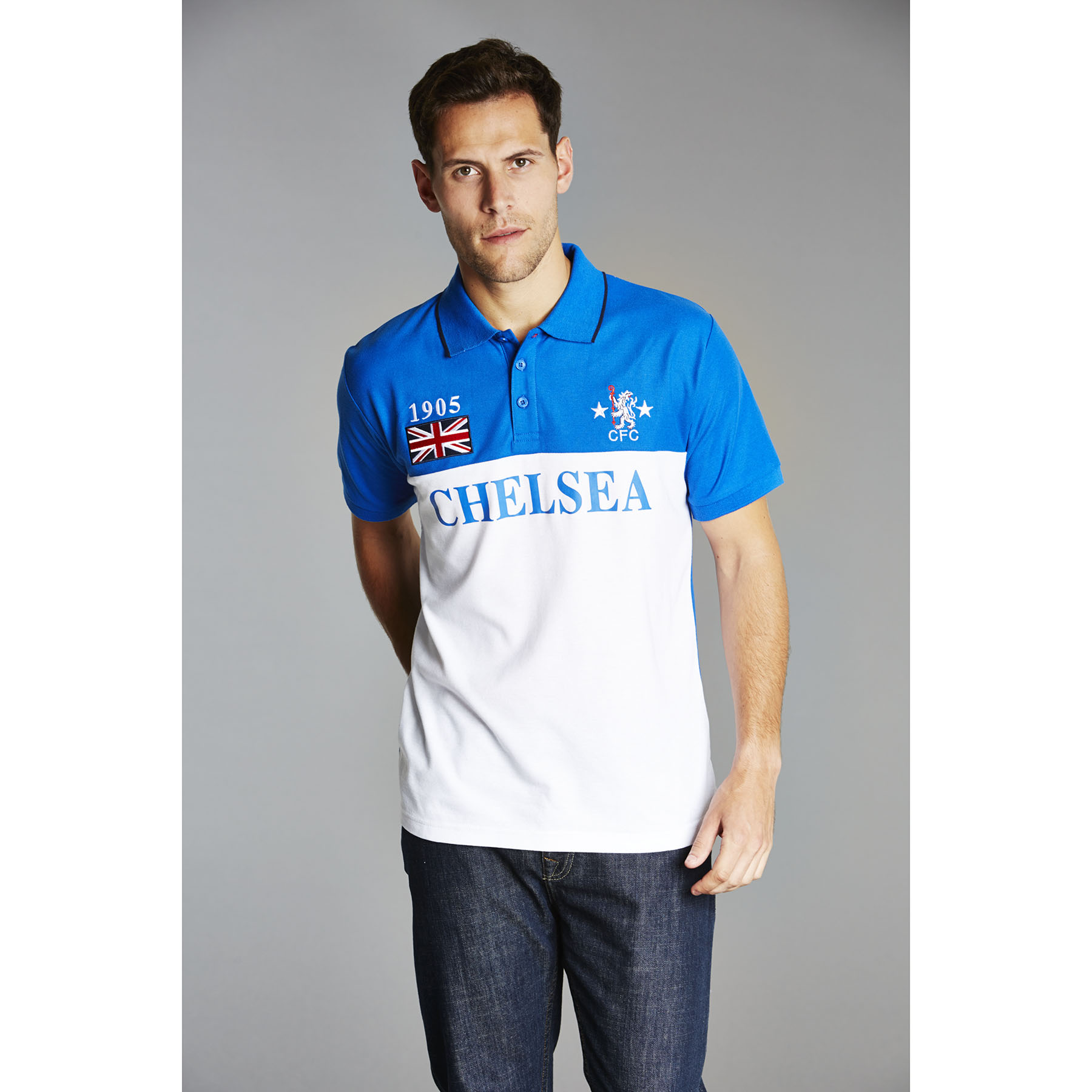 Chelsea Retro Panelled Polo Shirt - Strong Blue - Mens