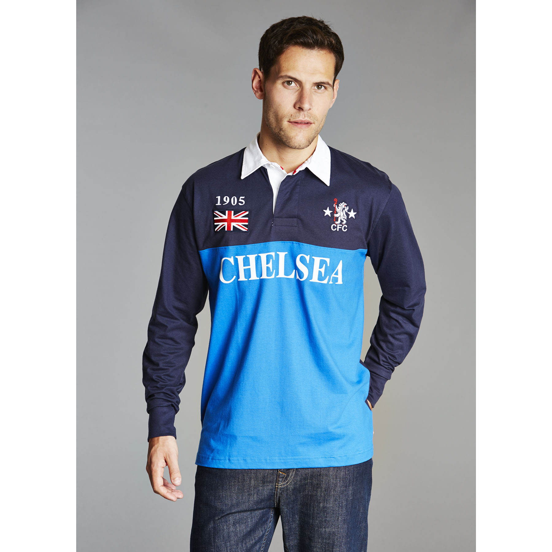 Chelsea Retro Rugby Shirt - Navy - Mens