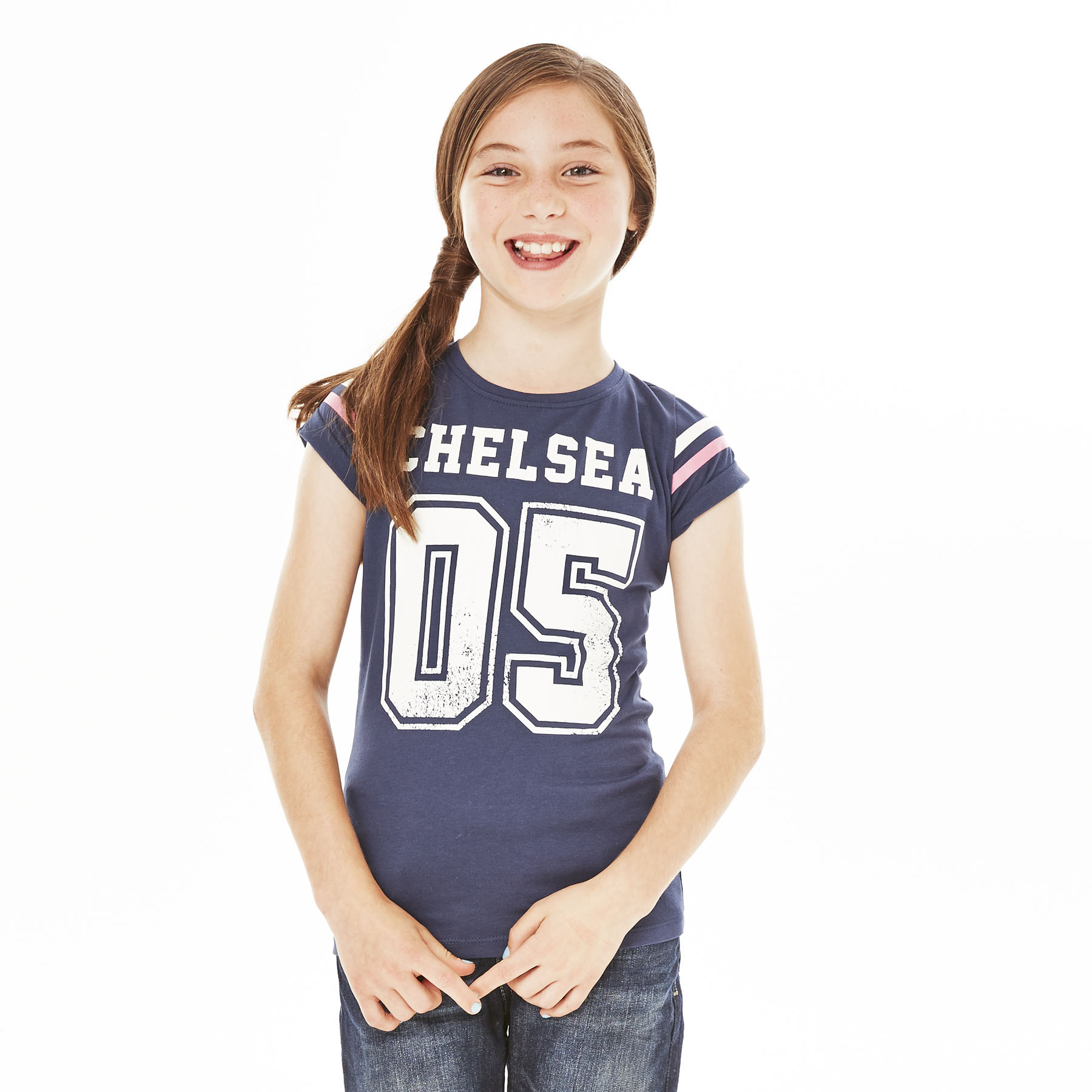 Chelsea Distressed T-Shirt - Navy - Girls