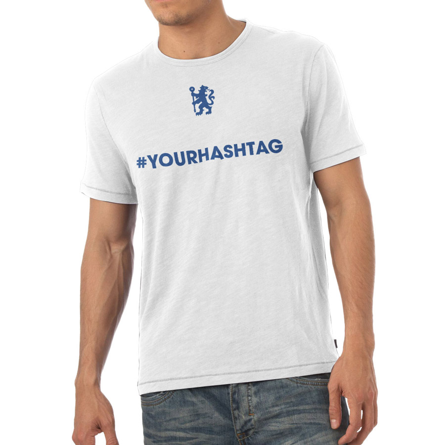 Chelsea Personalised Hashtag T-Shirt White