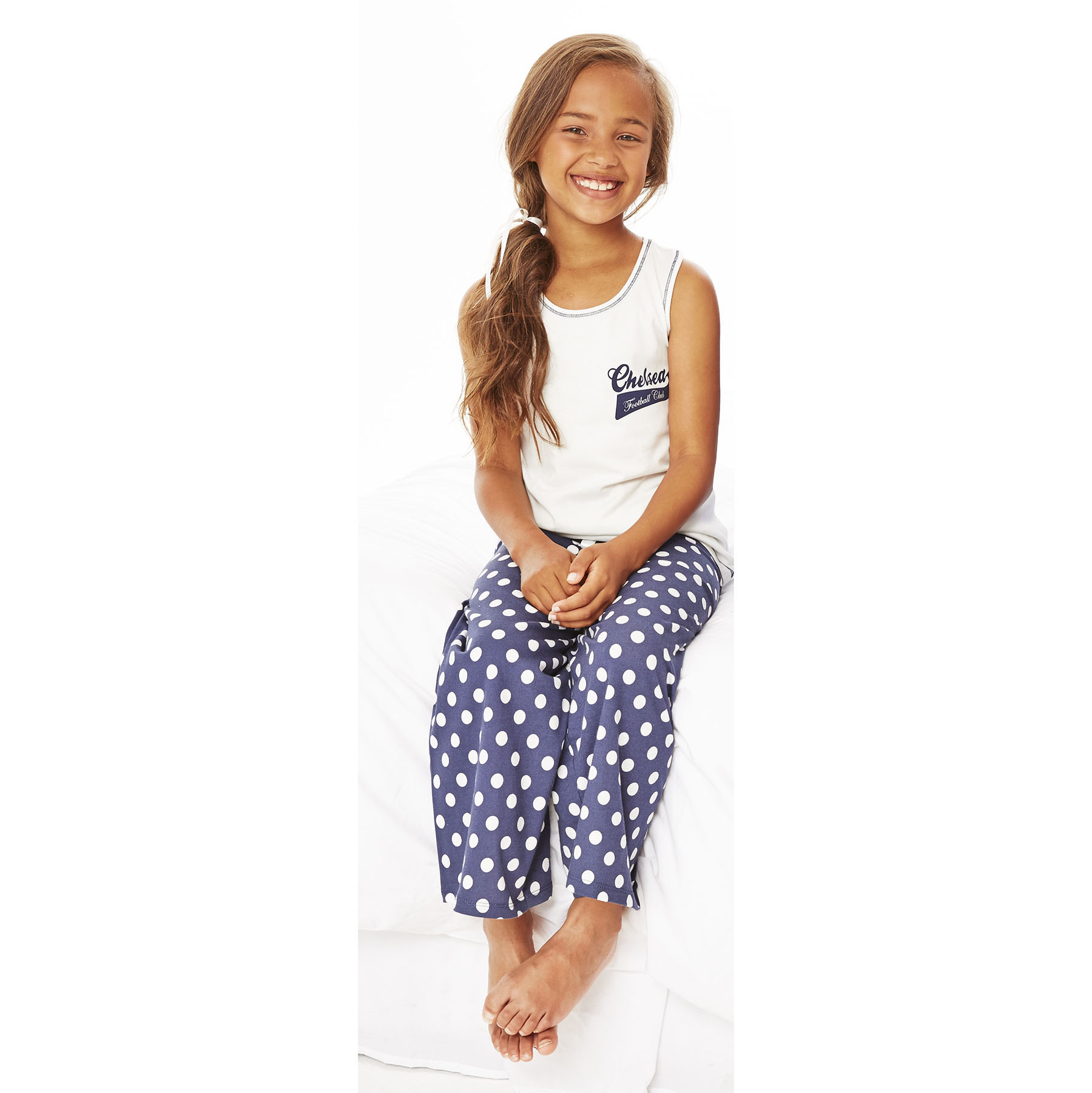Chelsea Spotty Pyjamas - Ecru/Navy - Older Girls