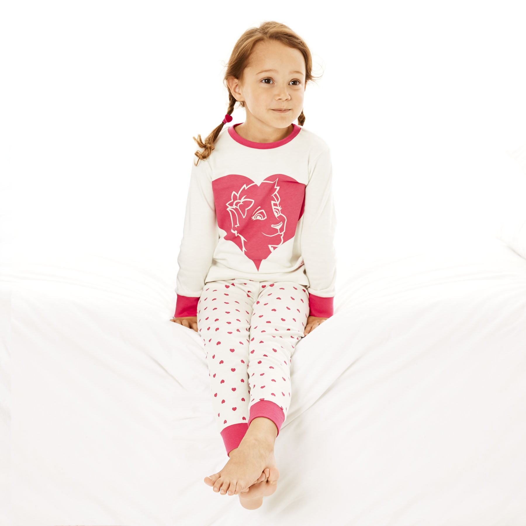 Chelsea Heart Snuggle Fit Pyjamas - Ecru/Pink - Infant Girls