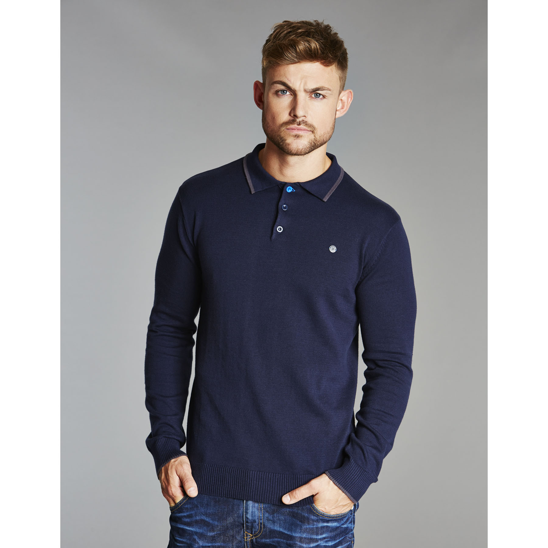 Chelsea Collection Tipped Collar Knitted Polo Shirt - Navy - Mens