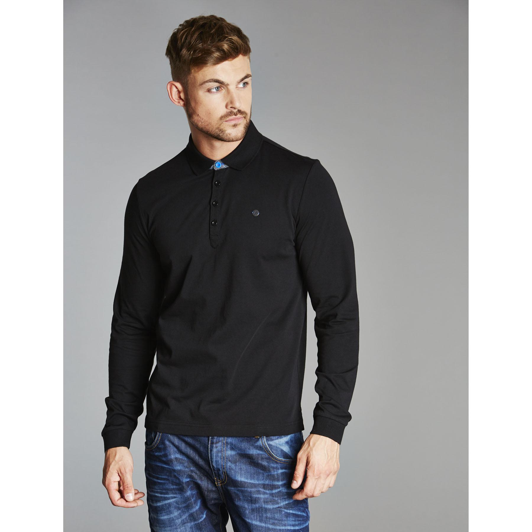 Chelsea Collection Long Sleeve Polo Shirt - Black - Mens
