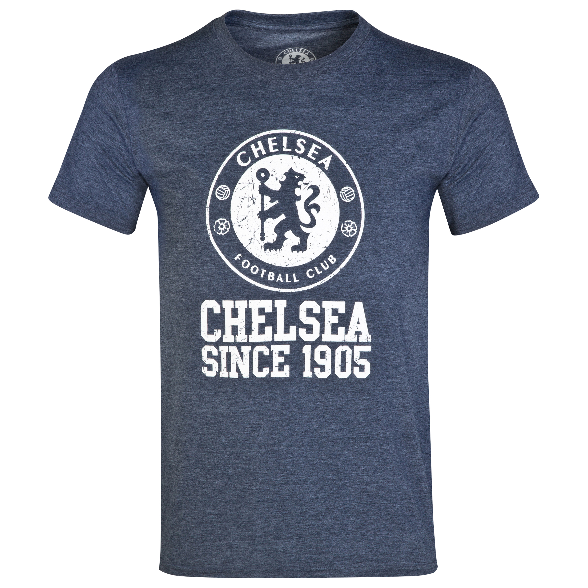 Chelsea Distressed Crest T-Shirt - Heather Navy - Mens