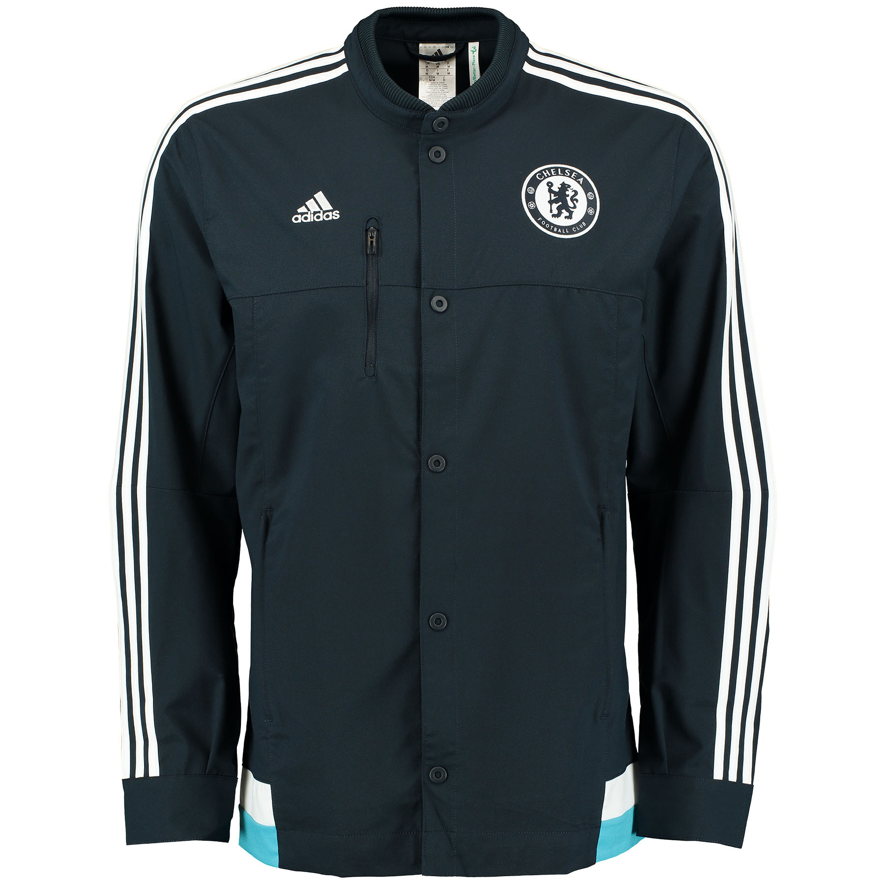 Chelsea Anthem Jacket - Kids   The match doesn't stop for The Blues when the temperatures drop. Young fans can cut the chill in the Chelsea Anthem Jacket! The stand-up collar helps to keep out the draft and the Chelsea FC crest sits above the heart so young players can show their support wherever they go. Benefits of this Chelsea Kids Anthem Jacket •Built to block out the draft •adidas three stripe logo on chest •Chelsea FC crest on the chest