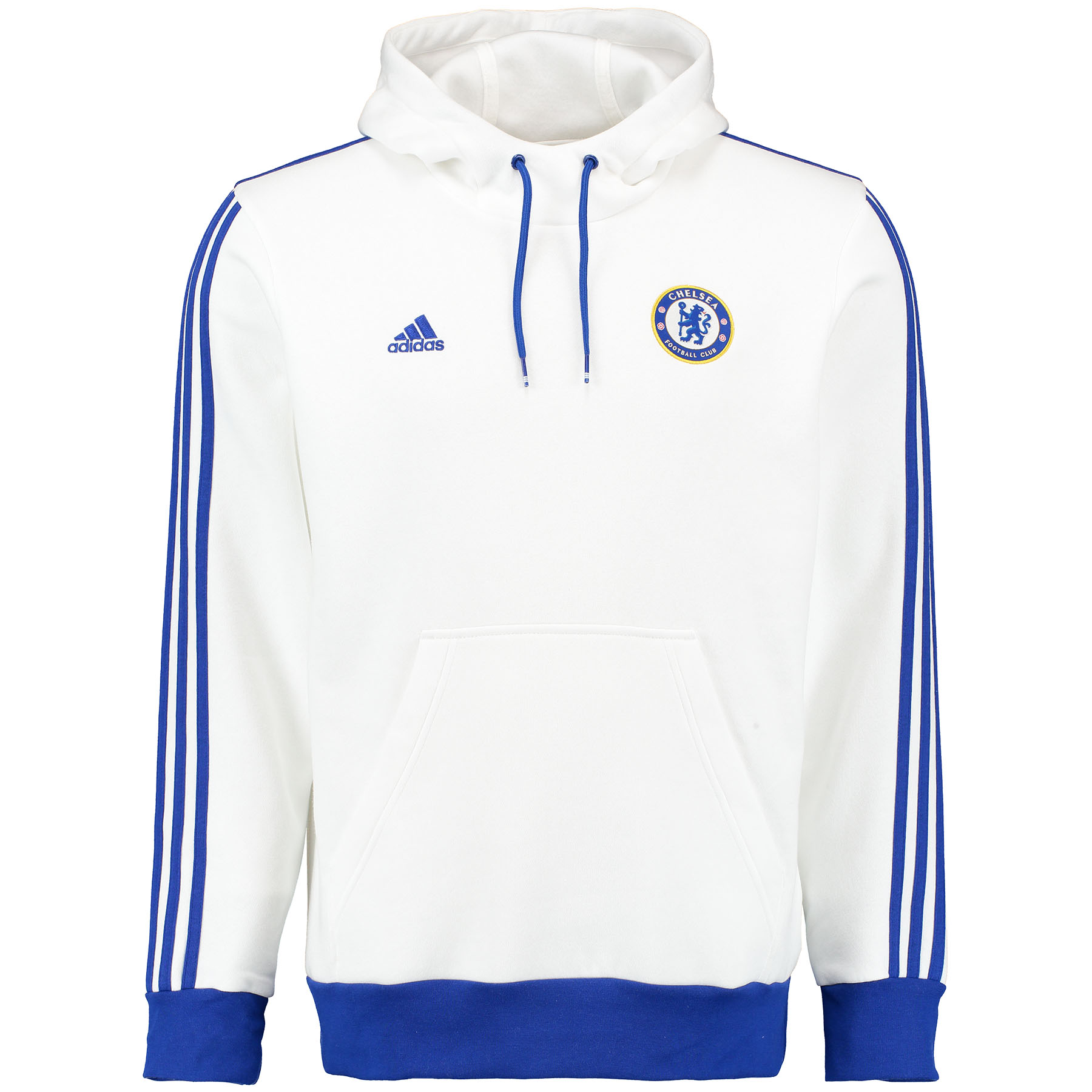 Chelsea Core Hooded Top - White As Chelsea lights up the pitch, you can cheer them on in this men's football hoody. Showing off their team badge on the chest, the sweatshirt features a kangaroo pocket and a drawcord hood.   Styled in white with blue contrast ribbed cuffs and hem, this Chelsea hoody is the ideal choice for a fan.   Benefits of this Chelsea Core Hooded Top •Kangaroo pocket •Drawcord-adjustable hood •Contrast ribbed cuffs and hem •Chelsea woven badge on left chest •Embroidered details and adidas three stripe logo •70% cotton / 30% polyester fleece