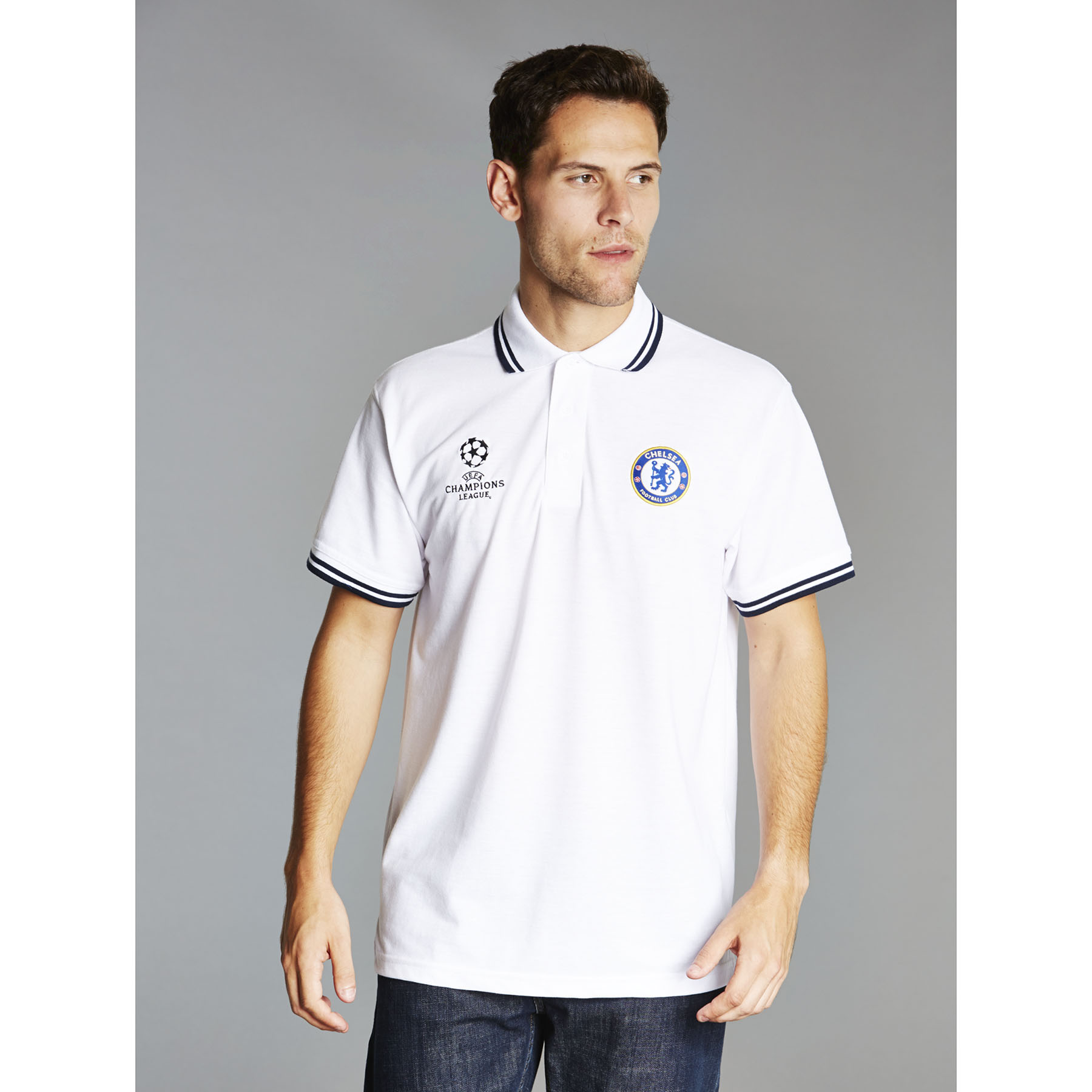 Chelsea UEFA Champions League Tipped Polo Shirt - White - Mens