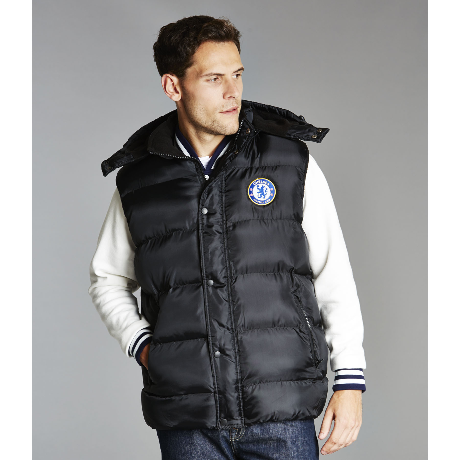 Chelsea UEFA Champions League Padded Gillet - Black - Mens