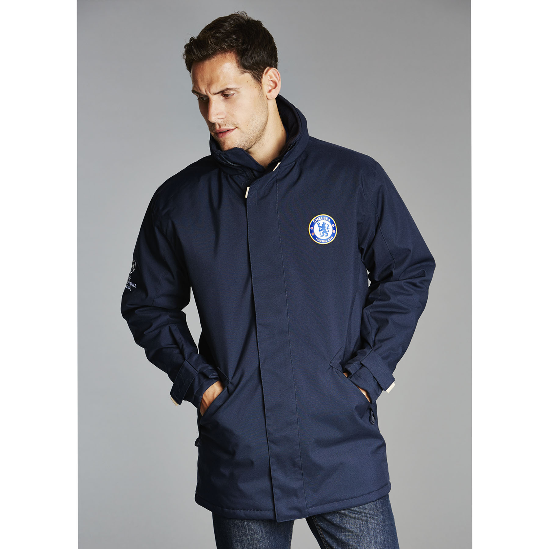 Chelsea UEFA Champions League Heavy Weight Jacket - Navy - Mens