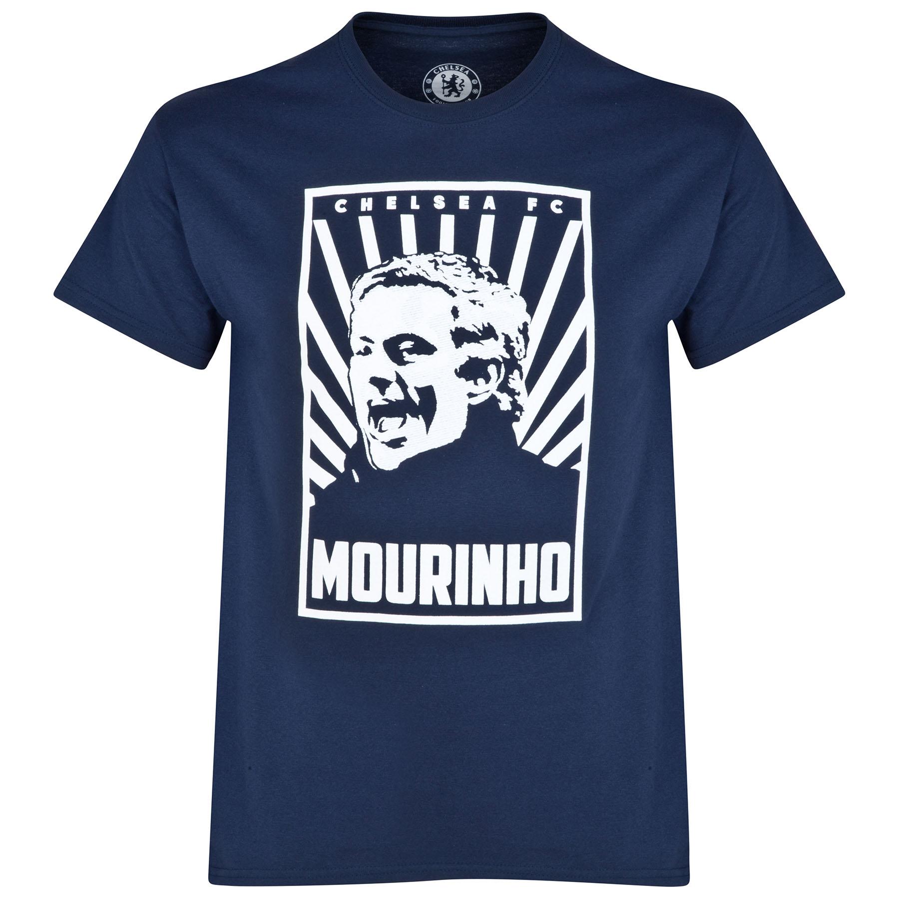 Chelsea Jose Mourinho Poster T-Shirt - Navy - Mens