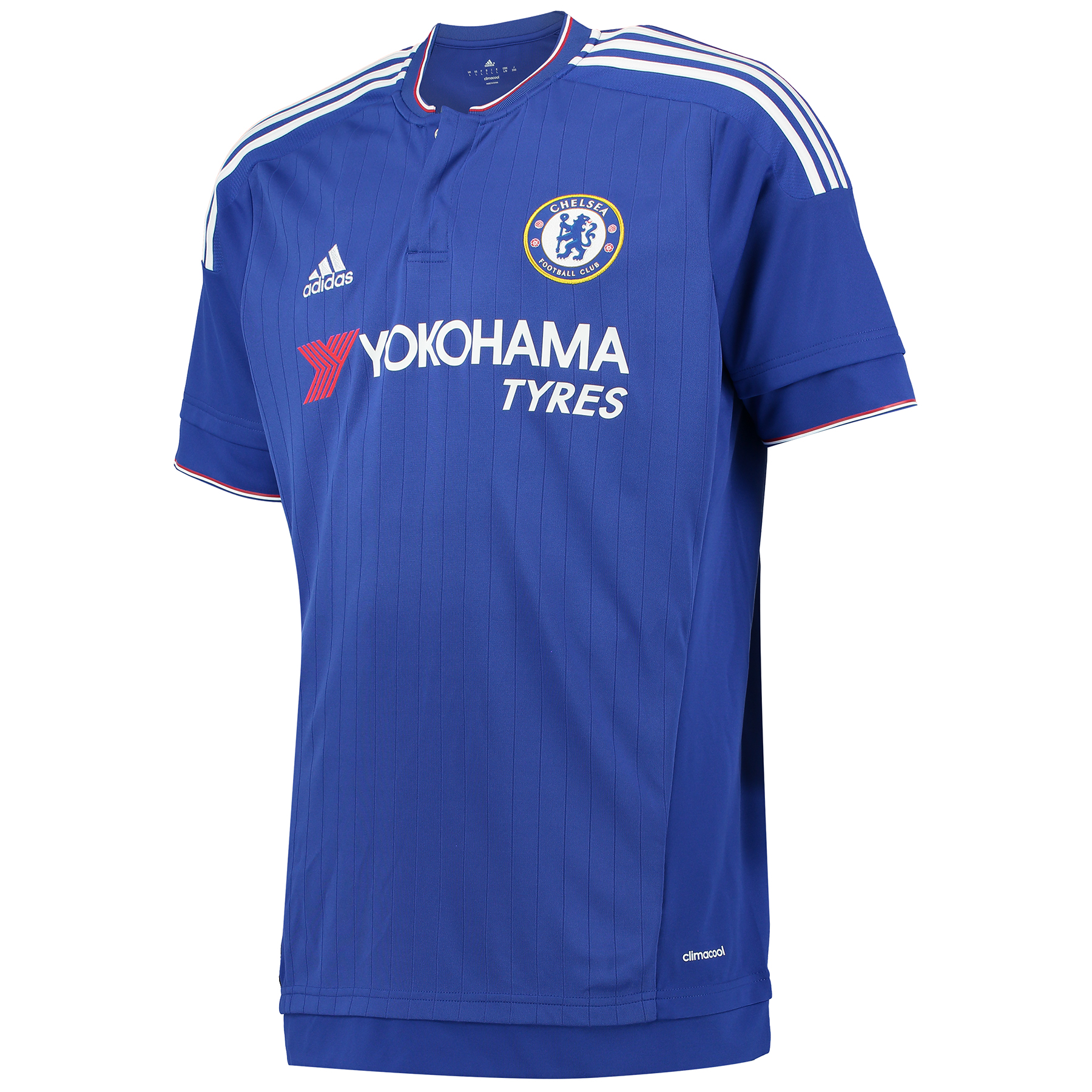Chelsea Home Shirt 2015/16 Show your support for your favourite club with the new 2015/16 Chelsea home shirt. The Blues have the speed and control that make goals. This men's football jersey is a version of the one Chelsea wear when they're putting points on the board during home matches. This short sleeve shirt features climacool® ventilation and their team badge on the chest. Join the likes of Diego Costa, Cesc Fabregas and Eden Hazard and order your new Chelsea shirt today! Benefits: Engineered fabric on front CLIMACOOL® Provides heat and moisture management through ventilation Regular Fit Club crest: woven badge 100% Polyester
