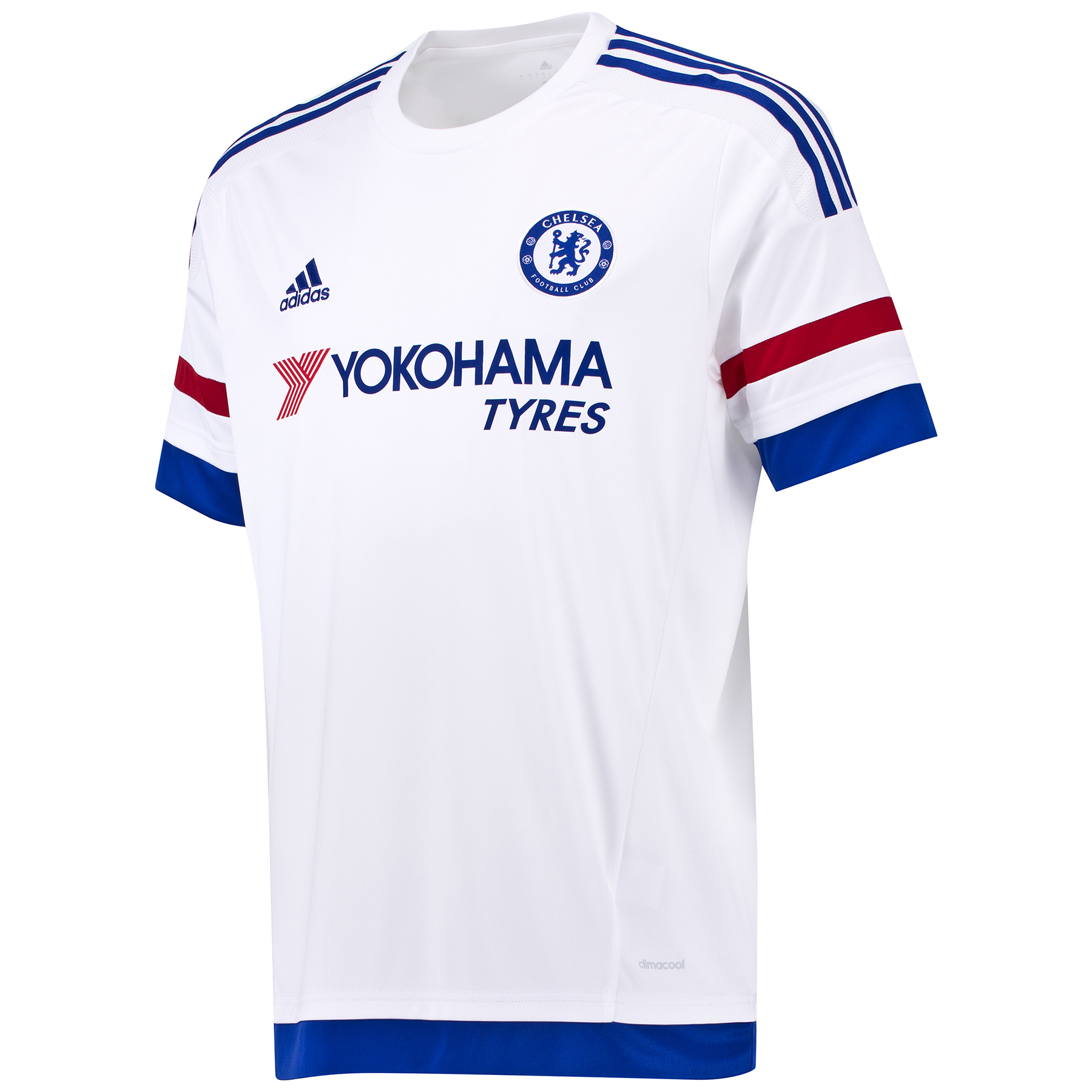 Chelsea Away Shirt 2015/16 Show your support for your favourite club with the new 2015/16 Chelsea Away Shirt. The Away Kit mirrors the colour story of the Home Kit in an unseen way: Red, White and Chelsea Blue stripes on the arms. The fingerprint label adds value and an authentic story. Join the likes of Diego Costa, Cesc Fabregas and Eden Hazard and order your new Chelsea shirt today! Benefits: Engineered fabric on front CLIMACOOL® Provides heat and moisture management through ventilation Regular Fit Club crest: woven badge 100% Polyester The fingerprint represents the identity of all Chelsea fansIconic stripes on the arms