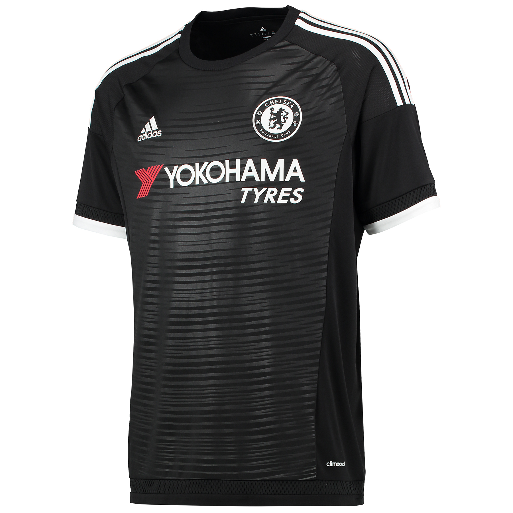 Chelsea Third Shirt 2015/16 - Black   When the Blues circulate their passes and open up shots, they wear a version of this men's football jersey. Based on the one from their third kit, this Chelsea Third Shirt features breathable climacool® ventilation and their team badge on the chest for comfort and pride.   Benefits: Ventilated climacool® keeps you cool and dry Ribbed crewneck; Raglan sleeves; Mesh ventilation inserts Fingerprint-inspired embossing; Chelsea Football Club woven badge on left chest; Regular fit 100% recycled polyester interlock   About the CFC 3rd Kit The fingerprint story told through a bold and modern graphic on the shorts and mirrored with an embossing on the shirt. The fingerprint label adds value and contributes further to the story CLIMACOOL® Provides heat and moisture management through ventilation. Regular Fit Club crest: woven badge The fingerprint represents the identity of all Chelsea fans Bold fingerprint inspired embossing 100% rec.Polyester adidas sustainable product program This product is part of the adidas sustainable product program: Products are made in more sustainable ways to make the world a better place. Every fibre counts: Recycled polyester saves resources and decreases emissions.