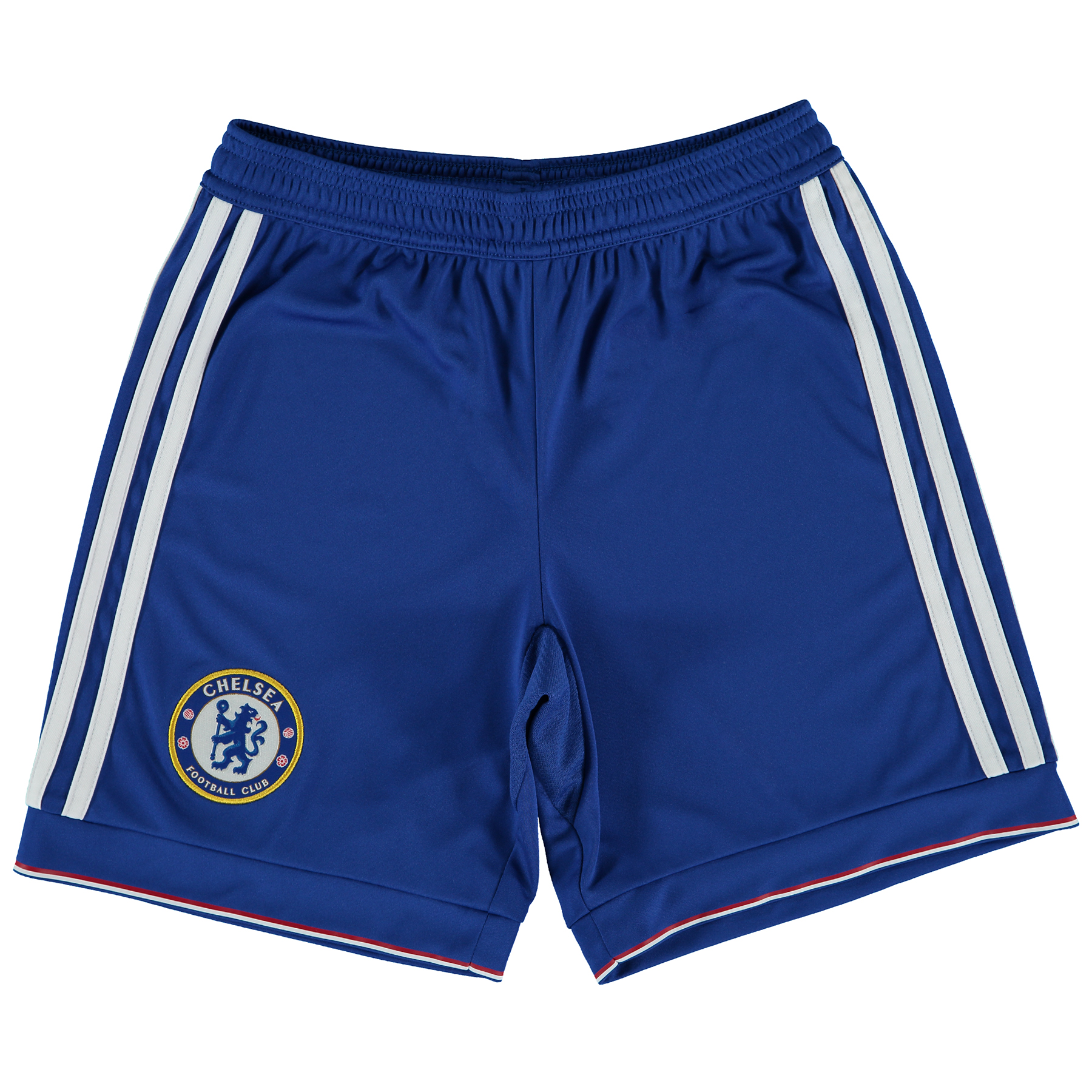 Chelsea Home Shorts 2015/16 - Kids Show your support for your favourite club with the new Chelsea Home Shorts 2015/16. Young fans can develop their footwork with these new football shorts. Showing Chelsea's team badge above the right hem, they feature climacool® ventilation that helps keep you cool and dry. Join the likes of Champions Diego Costa, Cesc Fabregas and Eden Hazard and order your new Chelsea shorts today! Benefits CLIMACOOL® Provides heat and moisture management through ventilation Club crest: woven badge Without inner mesh brief 100% rec. Polyester