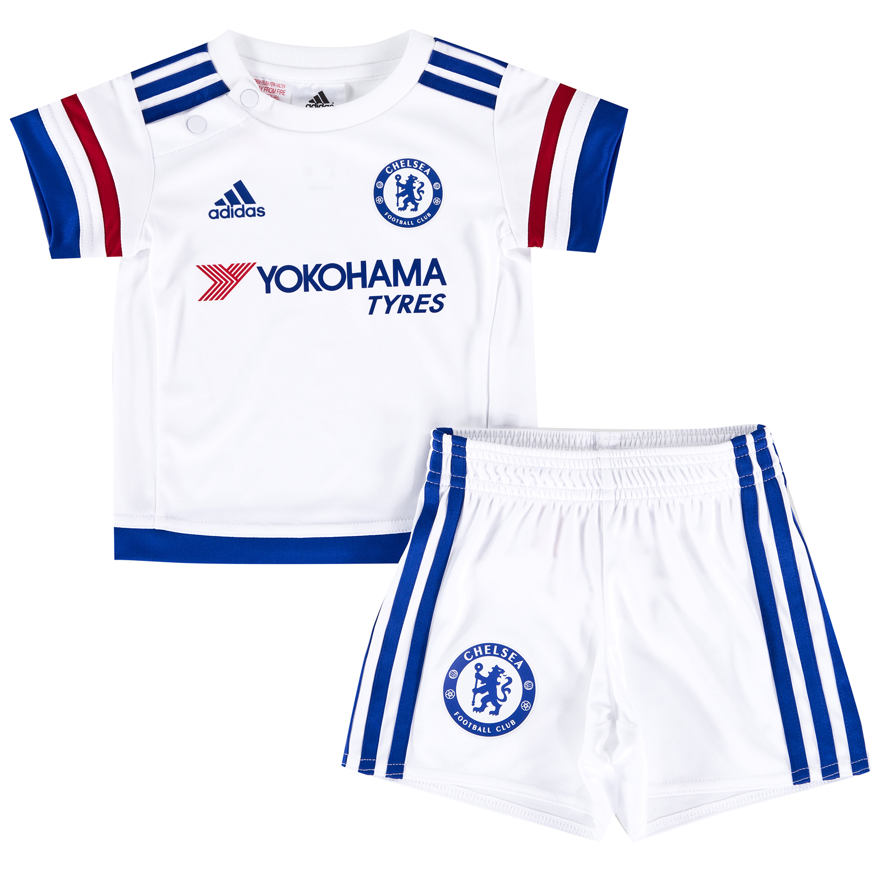 Chelsea  Away Baby Kit 2015/16 Even the youngest of fans can show their support for their favourite club with the new Chelsea Away Baby Kit for the 2015/16 season. The CFC Away KitThe Away Kit mirrors the colour story of the Home Kit in an unseen way: Red, White and Chelsea Blue stripes on the arms. The fingerprint label adds value and an authentic stor