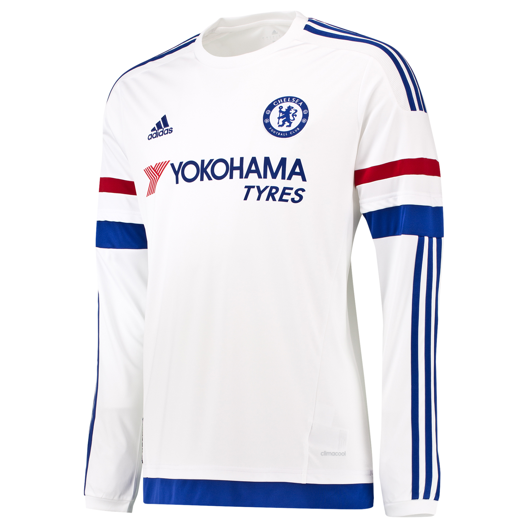 Chelsea Away Shirt 2015/16 - Long Sleeve - Kids   Show your support for your favourite club with the new 2015/16 Chelsea Kids Long Sleeved Away Shirt. The Away Kit mirrors the colour story of the Home Kit in an unseen way: Red, White and Chelsea Blue stripes on the arms. The fingerprint label adds value and an authentic story. Join the likes of Diego Costa, Cesc Fabregas and Eden Hazard and order your new Chelsea shirt today! Benefits: Engineered fabric on front CLIMACOOL® Provides heat and moisture management through ventilation Regular Fit Club crest: woven badge 100% Polyester The fingerprint represents the identity of all Chelsea fansIconic stripes on the arms