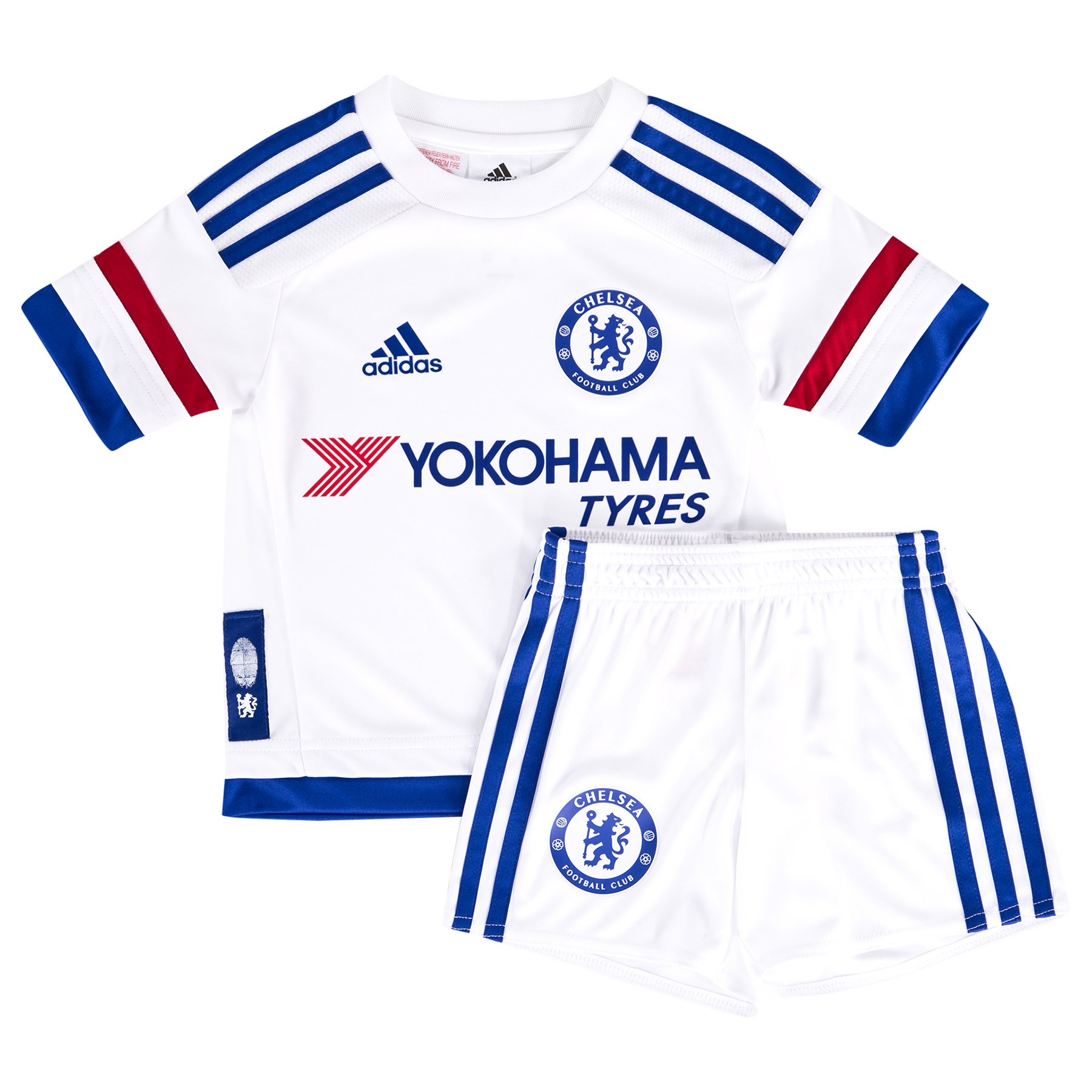 Chelsea  Away Mini Kit 2015/16 Young fans can show their support for their favourite club with the new Chelsea Away Mini Kit for the 2015/16 season. The Away Kit mirrors the colour story of the Home Kit in an unseen way: Red, White and Chelsea Blue stripes on the arms. The fingerprint label adds value and an authentic story. Budding players can join the likes of Champions Diego Costa, Cesc Fabregas and Eden Hazard in this new kit! Benefits CLIMACOOL® Provides heat and moisture management through ventilation. Regular Fit Club crest: heat transfer 100% rec.PES 100% PES