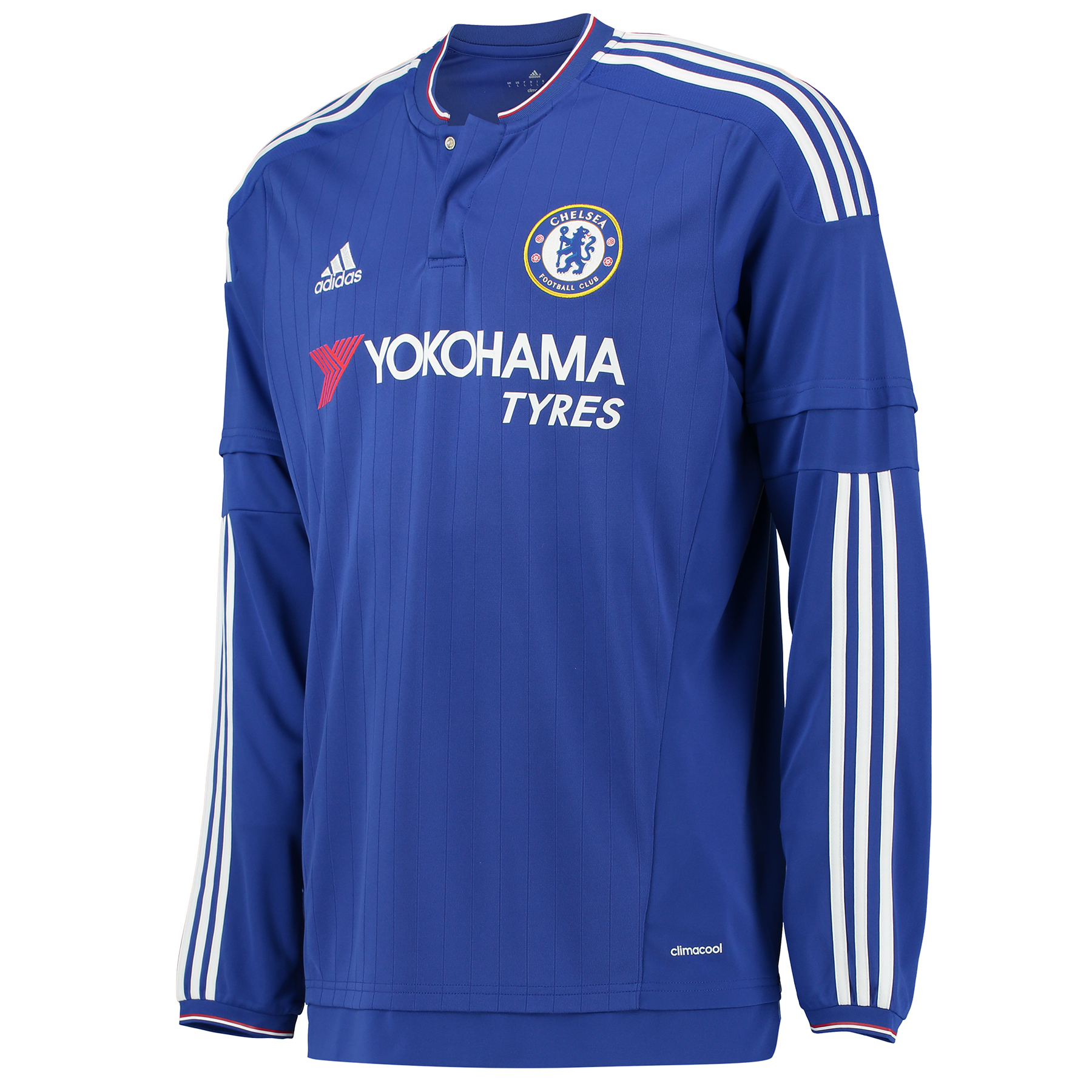 Chelsea Home Shirt 2015/16 - Long Sleeve - Kids Show your support for your favourite club with the new 2015/16 Chelsea home shirt. This kids football jersey is a version of the one the Blues wear when they touch and move at Stamford Bridge. This long sleeve shirt features climacool® ventilation and Chelsea's team badge on the chest. Join the likes of Diego Costa, Cesc Fabregas and Eden Hazard and order your new Chelsea shirt today! Benefits: Engineered fabric on front CLIMACOOL® Provides heat and moisture management through ventilation Regular Fit Club crest: woven badge 100% Polyester