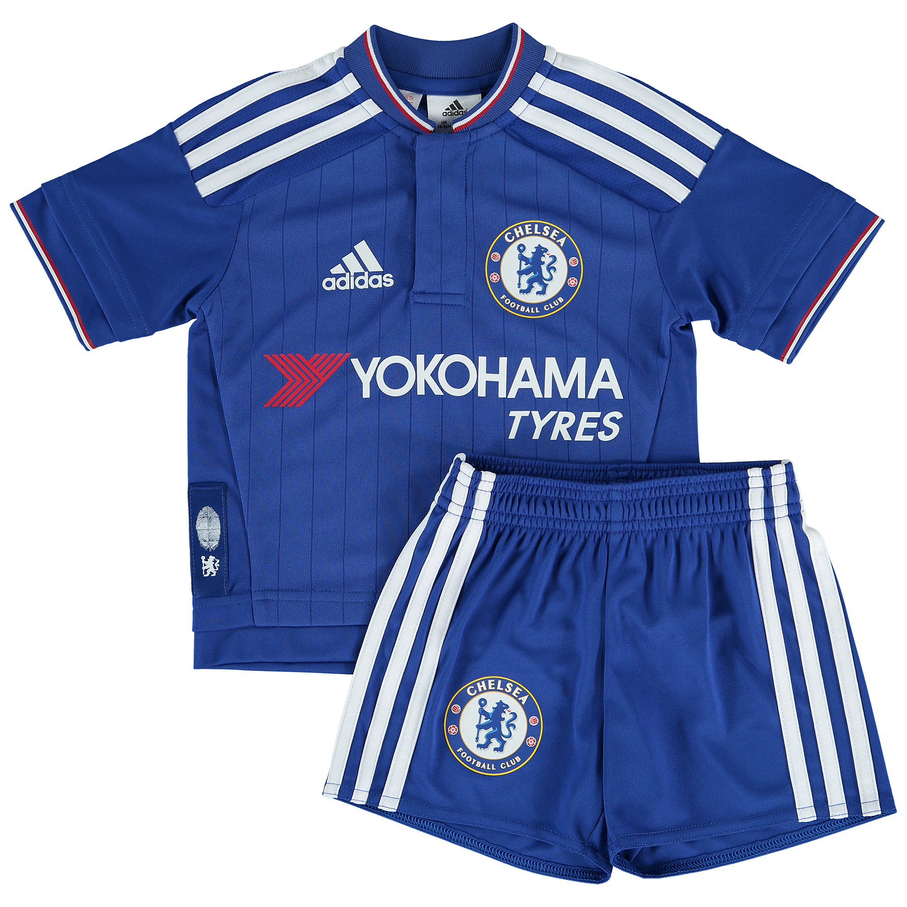 Chelsea Home Mini Kit 2015/16 The youngest Chelsea fans can show their support in this mini kit. This mini version of the kit the Blues wear to home matches features their proud team badge on the chest and above the right hem of the shorts. Budding players can join the likes of Champions Diego Costa, Cesc Fabregas and Eden Hazard in this new Chelsea Mini Kit!   Benefits: 7 cm inseam climalite® fabric sweeps sweat away from your skin Jersey: Ribbed crewneck; Engineered front fabric; Chelsea Football Club heat-transfer crest on left chest; Shorts: Elastic waist; Chelsea Football Club  heat-transfer crest above right hem This product is part of the adidas sustainable product program: Products are made in more sustainable ways to make the world a better place Every fibre counts: Recycled polyester saves resources and decreases emissions; Regular fit Jersey: 100% polyester interlock; Shorts: 100% recycled polyester interlock