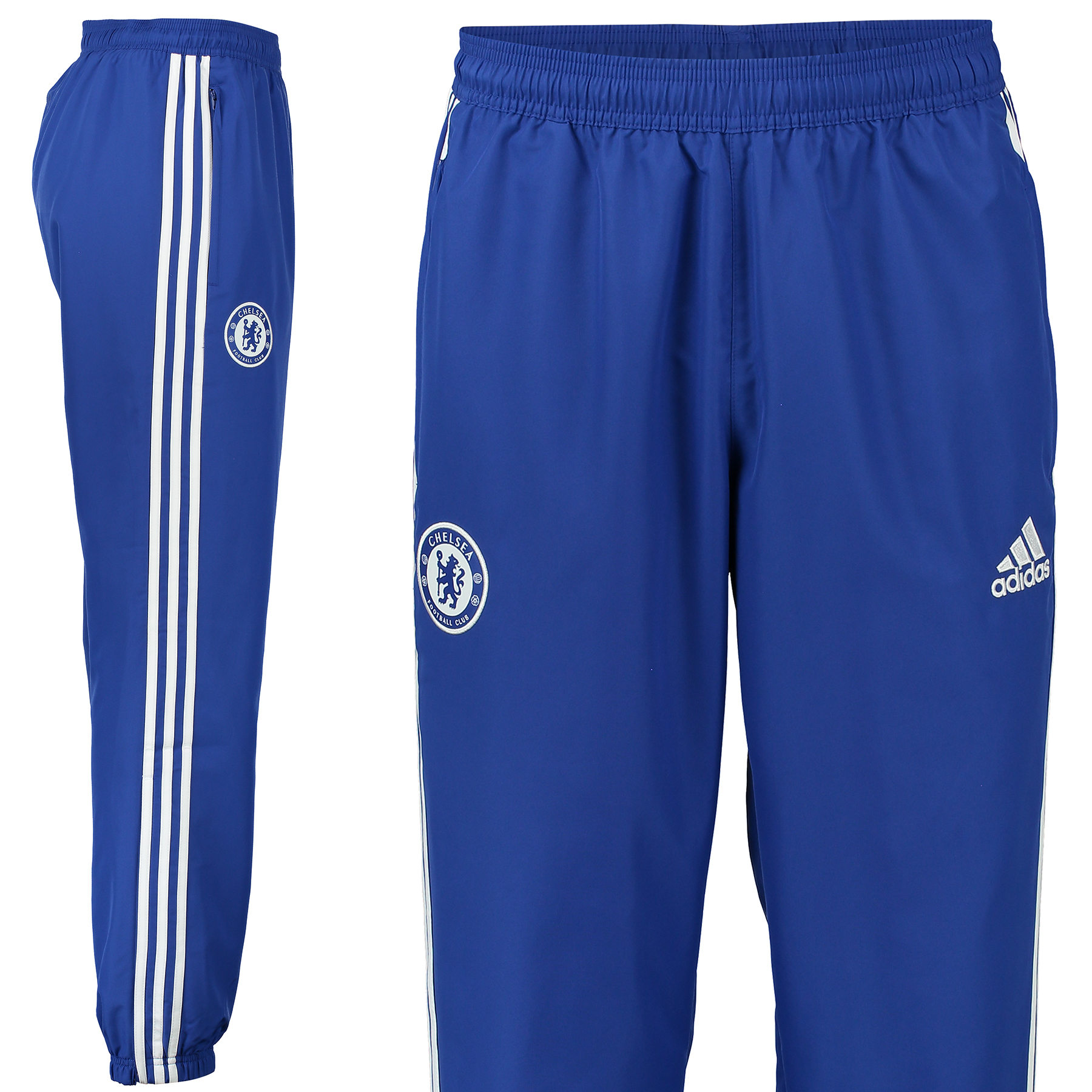 Chelsea Training Pants - Blue Fans can train in total comfort with the Chelsea Training Pants which feature CLIMACOOL® to provide heat and moisture management through ventilation. Benefits: CLIMACOOL® Provides heat and moisture management through ventilation Functional knitted fabric Tapered Fit Club crest: screen print 100% Polyester