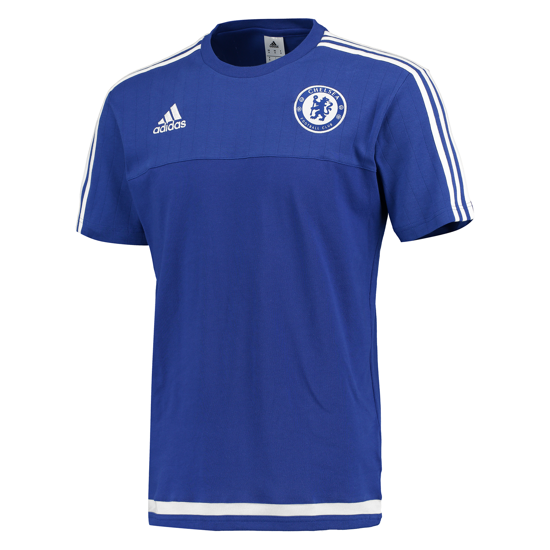 Chelsea Training T-Shirt Blue   Support your favourite club in comfort with the Chelsea Training T-Shirt.   Built with engineered pinstripes and a woven badge, you can display love for your favourite club when you wear this Chelsea Training T-Shirt. Benefits: Rib collar Engineered pinstripes 60% cotton / 40% PES Club crest: woven badge
