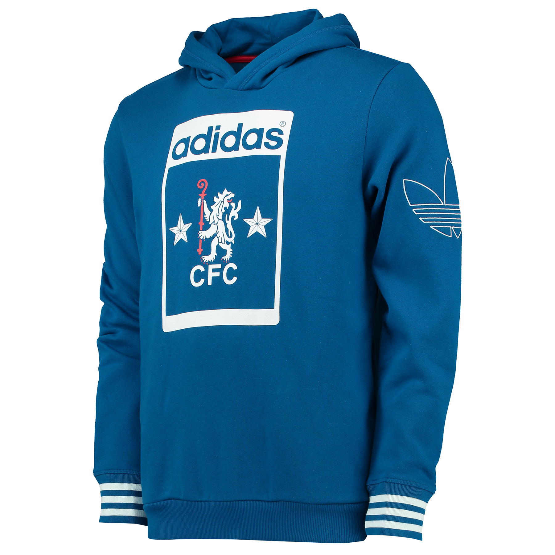 Chelsea adidas Originals Fleece - Navy   Embrace the retro revival with the Chelsea adidas Originals Fleece - Navy.   This vintage Chelsea FC fleece makes a flawless fit for the adidas Originals heritage brand – an ice-cool collection of throwback apparel with a 20th-century urban flavour.   A timeless twist on a clubwear classic, pay tribute to the Blues' legacy with this nostalgic design; influenced by the style of apparel worn at Stamford Bridge across past decades.   Benefits:   Men's retro fleece pullover hooded sweatshirt top Chelsea graphic in adidas shoe tongue label-inspired style Slim fit, with outline Trefoil print on left shoulder Ribbed cuffs and hem, hood with overlap front 70% cotton / 30% brushed polyester fleece