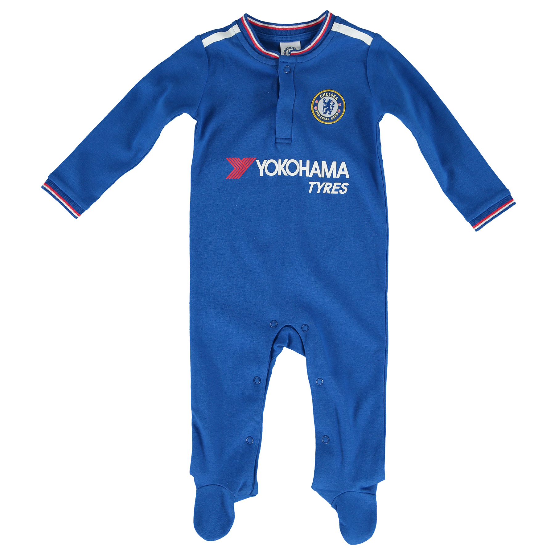 Chelsea Kit Sleepsuit - Royal - Baby   Woven club crest. Printed club sponsor. Popper fastenings. Tipped neckline and cuffs. 100% Cotton (excluding trims). Machine washable.