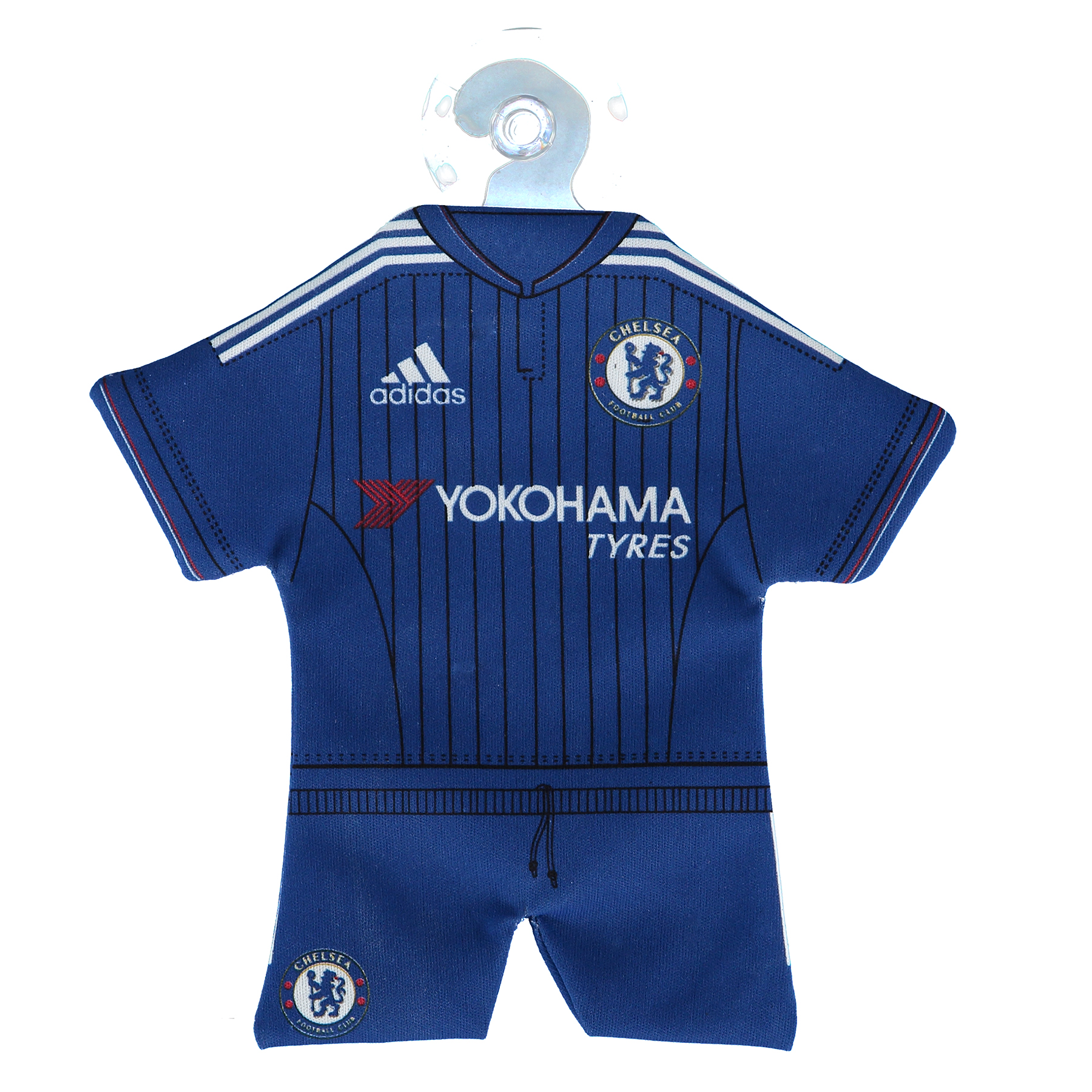 Chelsea 15/16 Home Car Mini Kit Mini car kit hanger complete with replica design of 2015/16 home shirt. Material: Polyester. Includes stopper for hanging. Size 18cm(l).